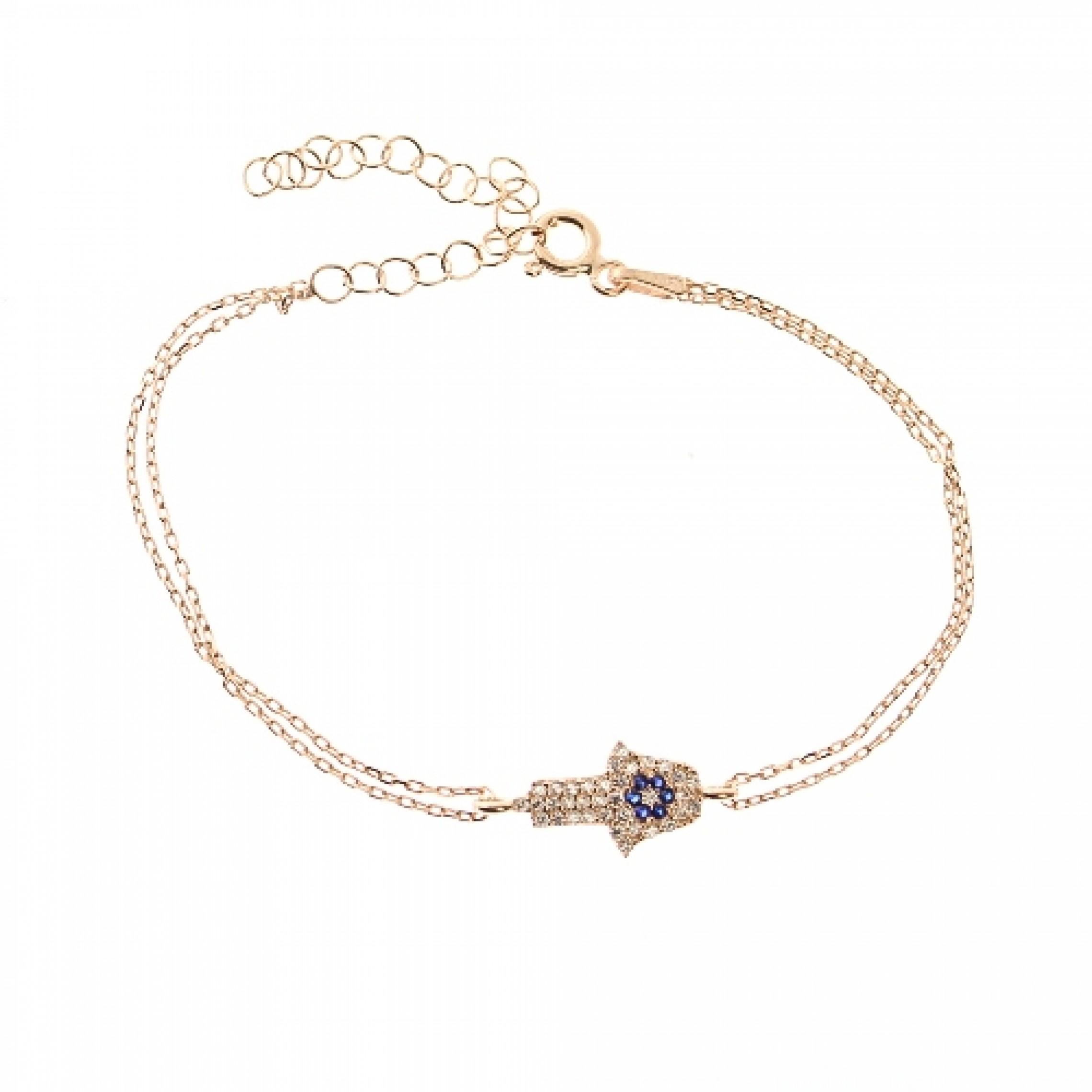 JB-180017 Evil Eye 925 Sterling Silver CZ Bracelet Hamsa