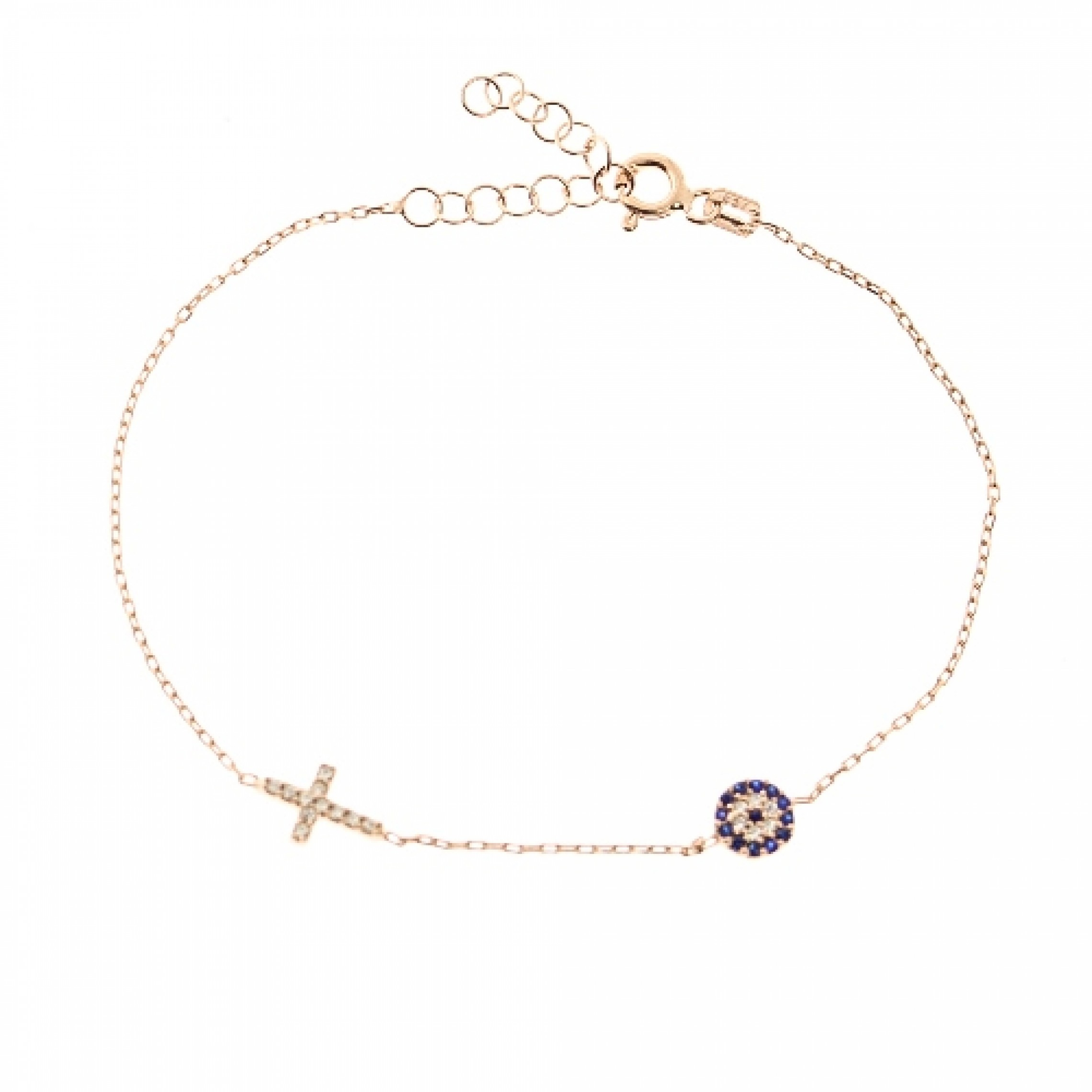 JB-180018 Evil Eye 925 Sterling Silver CZ Bracelet Cross