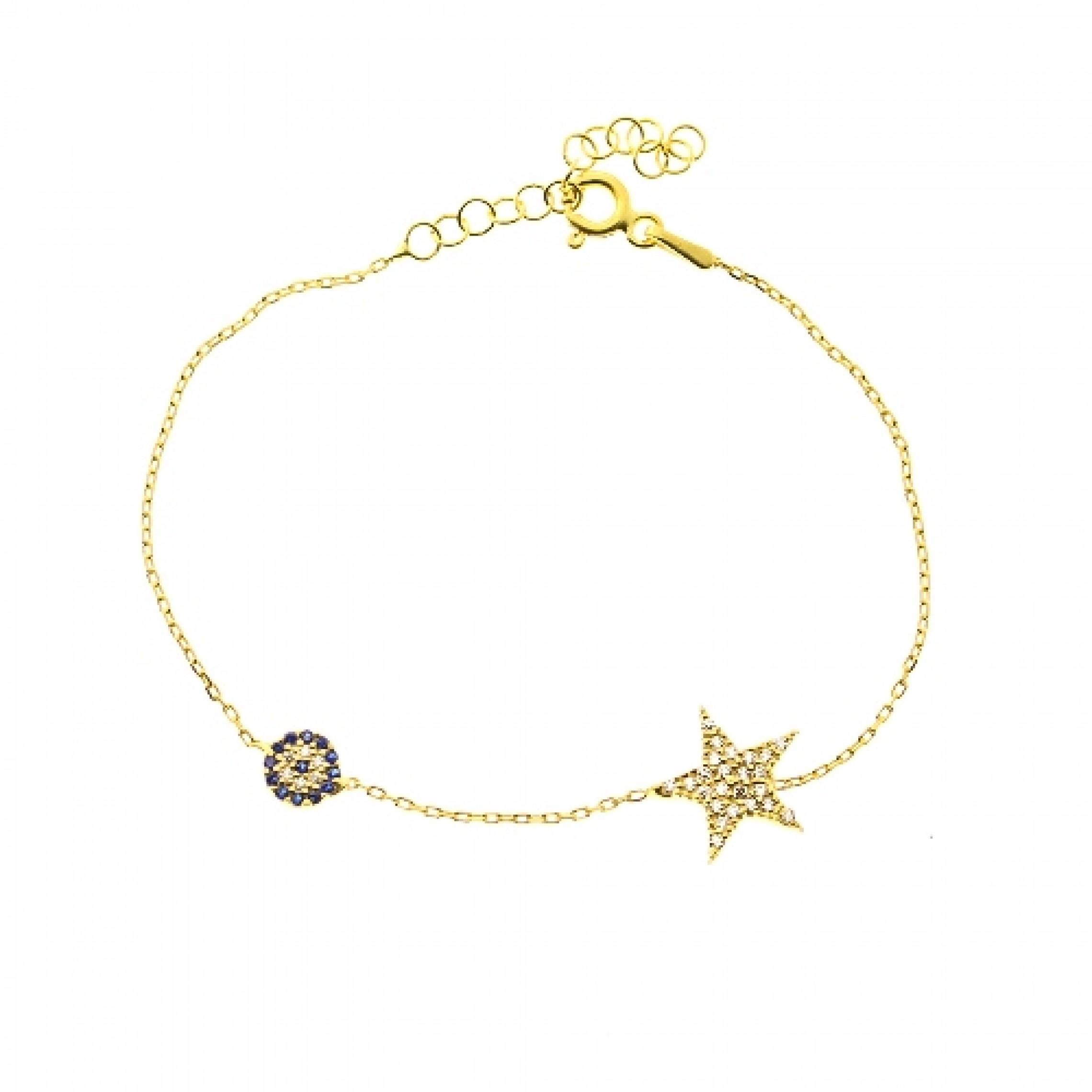 JB-180030 Evil Eye 925 Sterling Silver CZ Bracelet Star