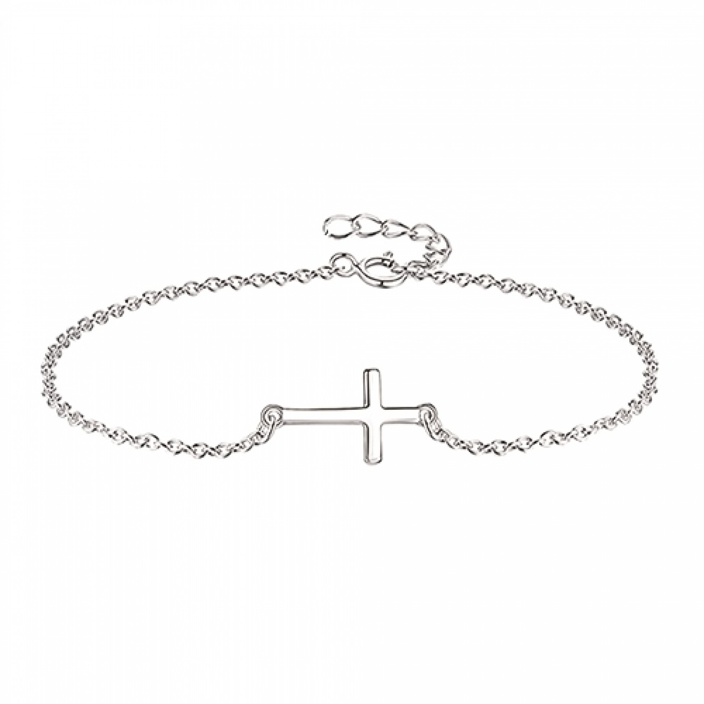 JB-180077 Evil Eye 925 Sterling Silver CZ Bracelet Cross