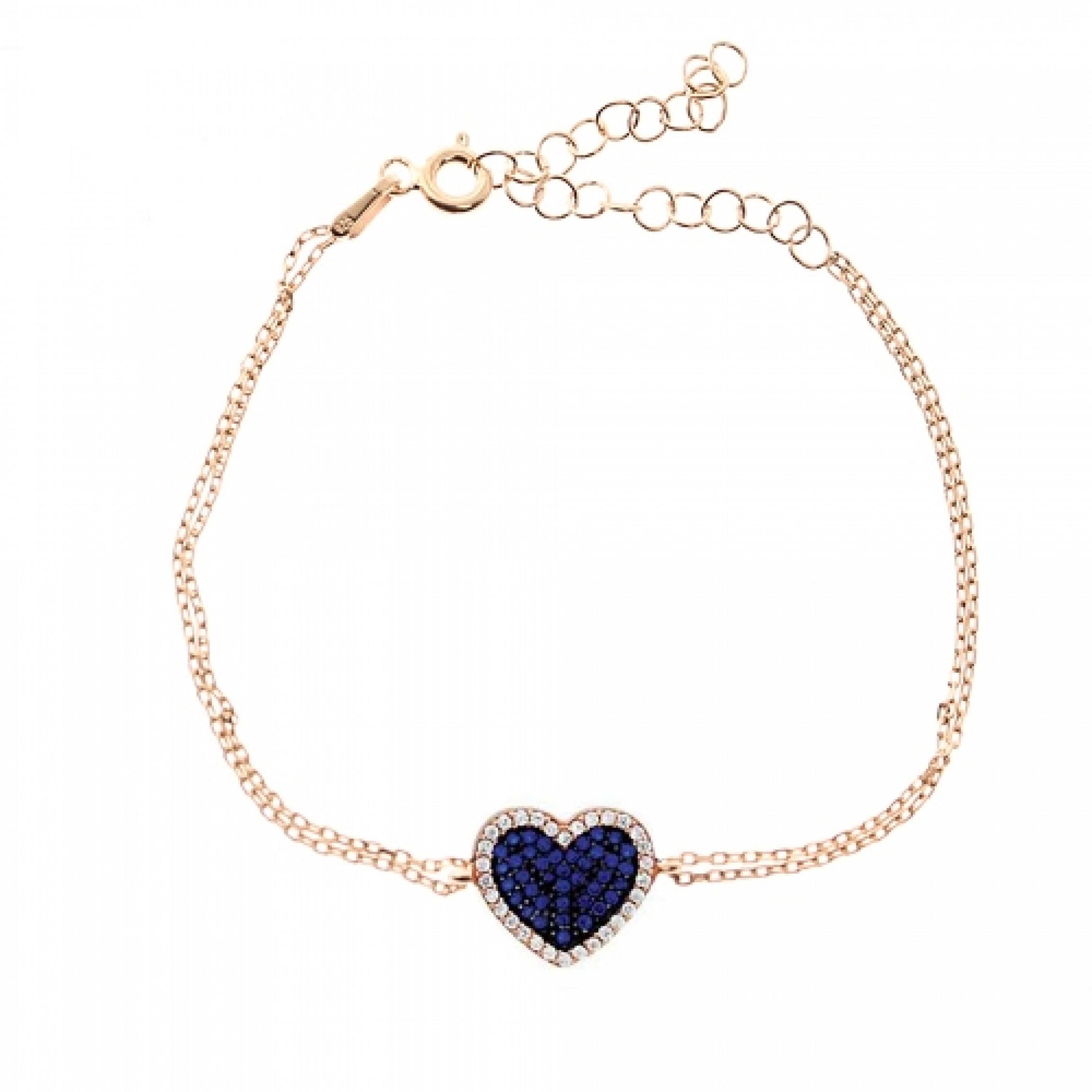 JB-180085 Evil Eye 925 Sterling Silver CZ Bracelet Heart