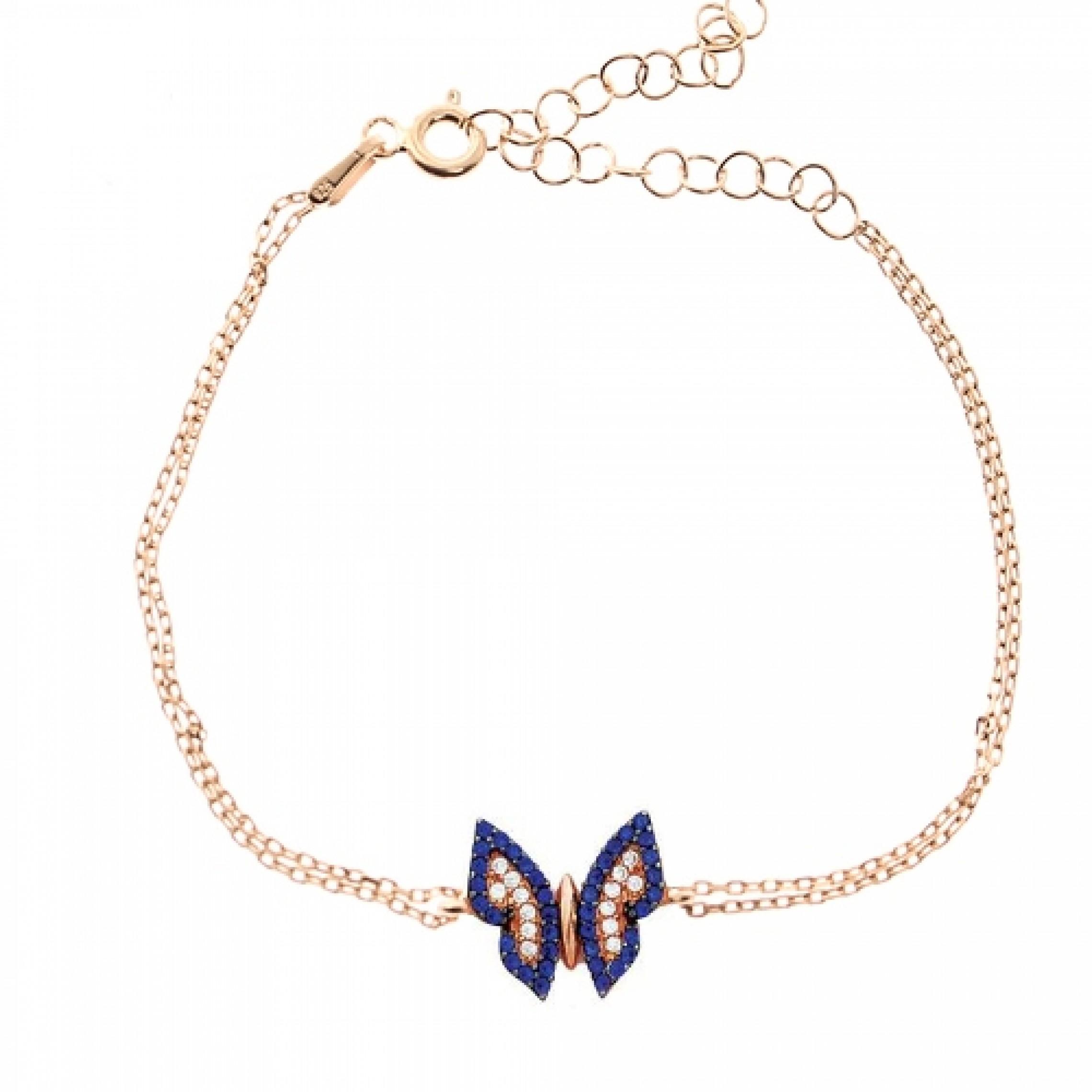 JB-180087 Evil Eye 925 Sterling Silver CZ Bracelet Butterfly