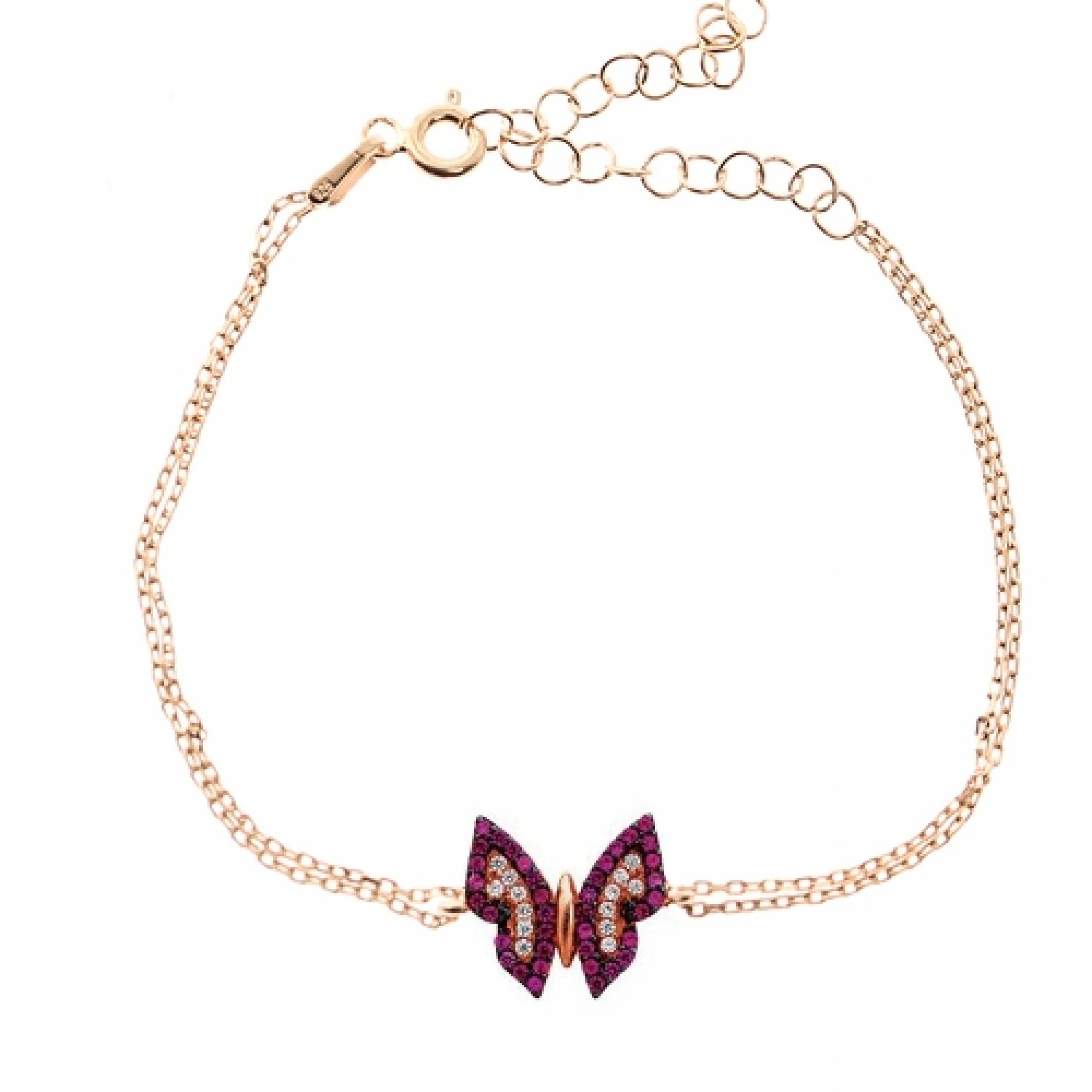 JB-180088 Evil Eye 925 Sterling Silver CZ Bracelet Butterfly