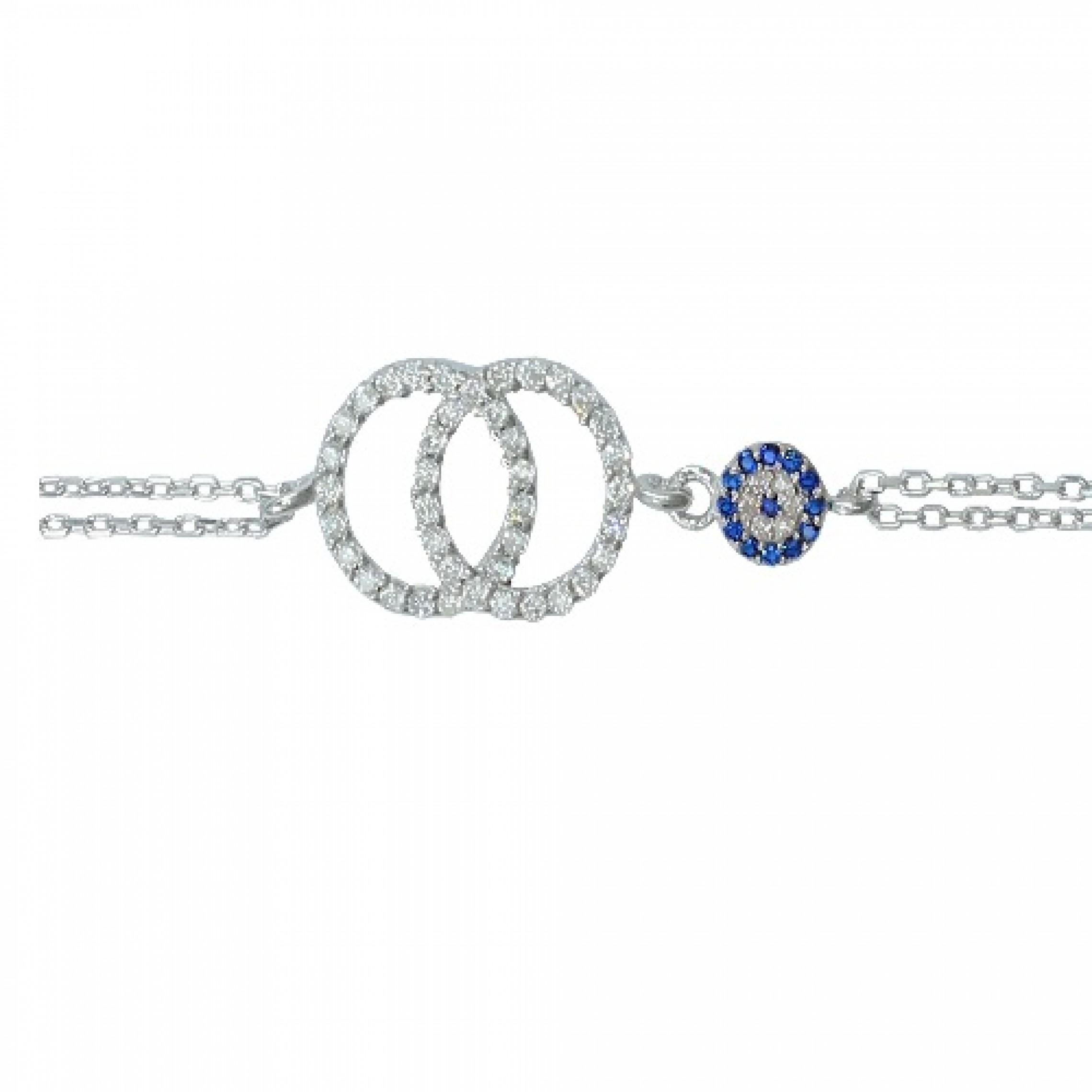 SB-119 Evil Eye 925 Sterling Silver CZ Bracelet