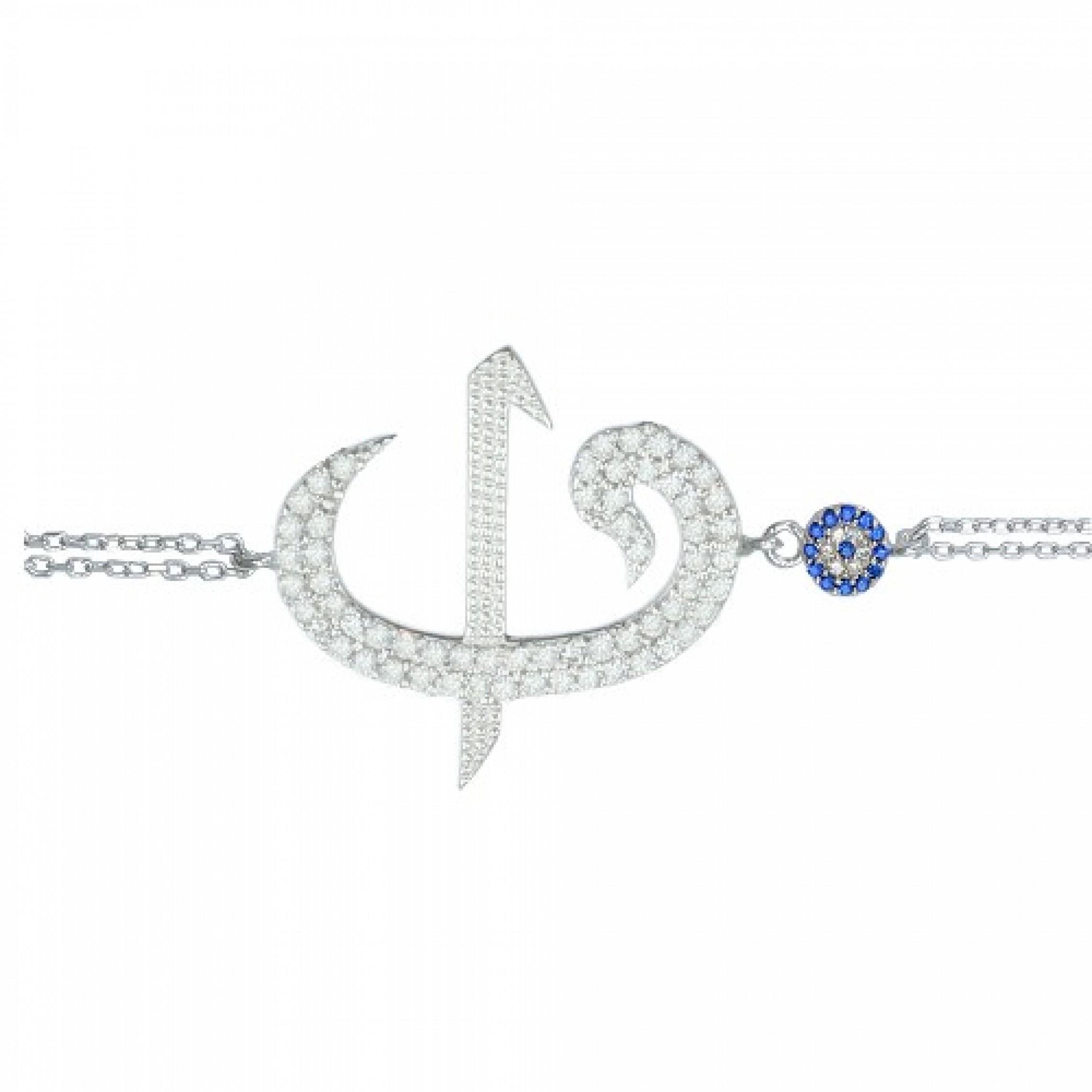 SB-4 Evil Eye 925 Sterling Silver CZ Bracelet