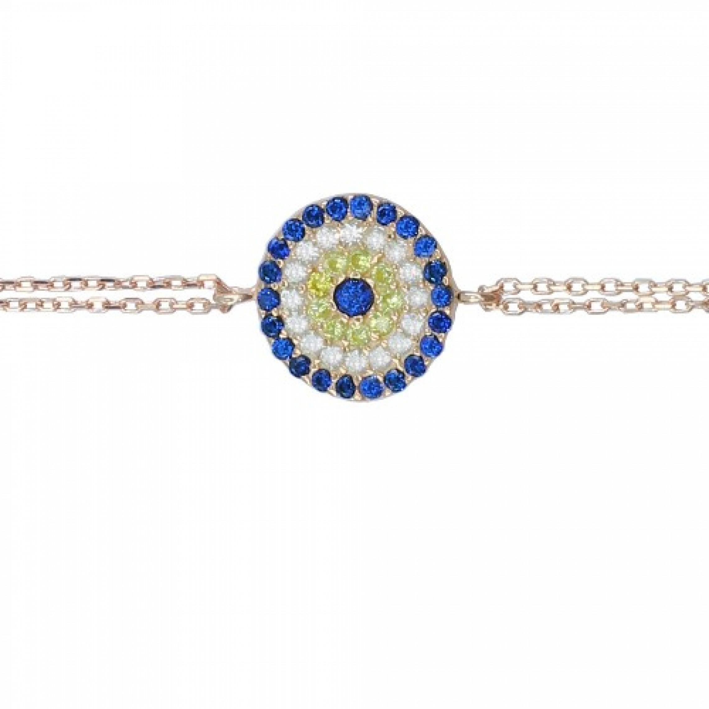 SB-61 Evil Eye 925 Sterling Silver CZ Bracelet