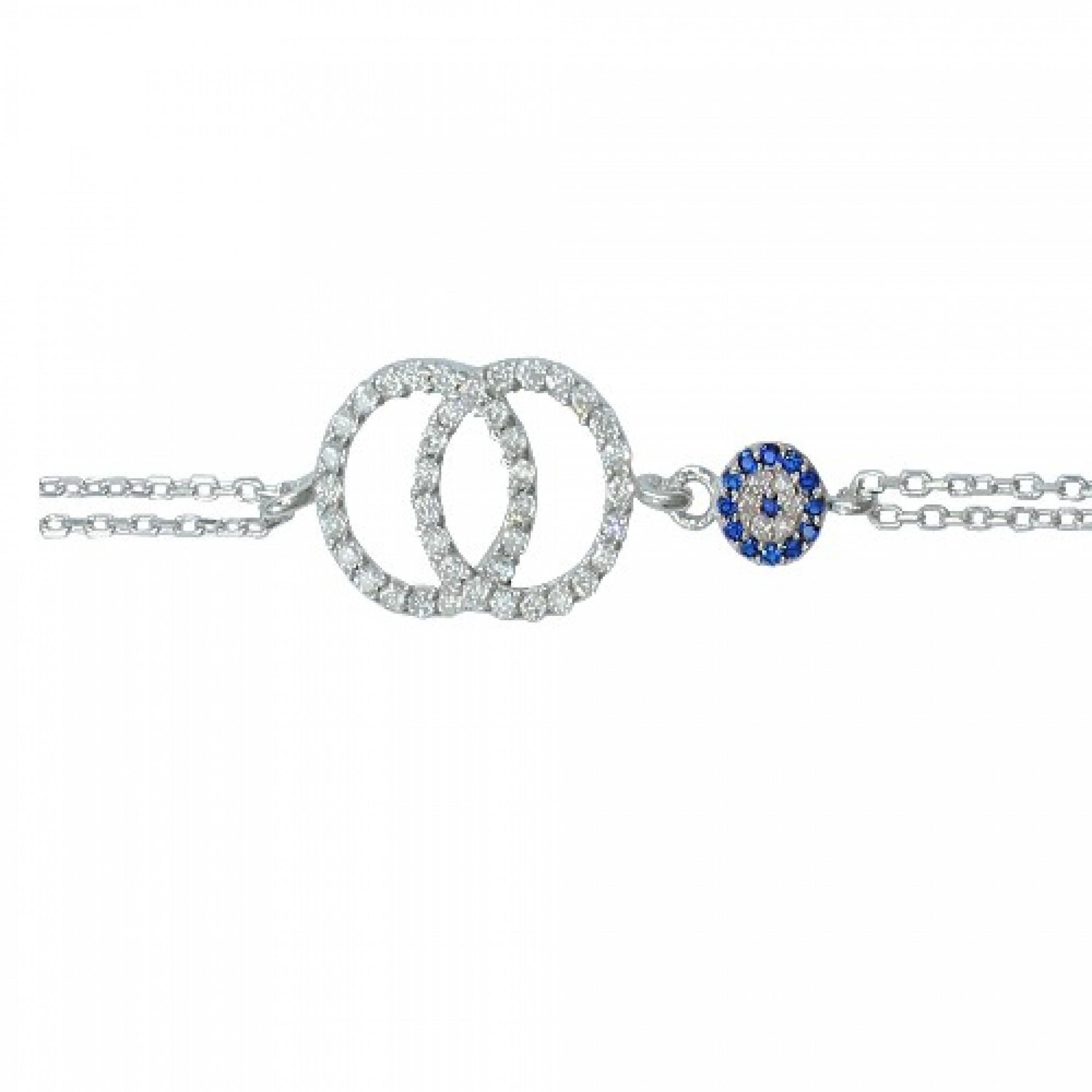 SB-76 Evil Eye 925 Sterling Silver CZ Bracelet