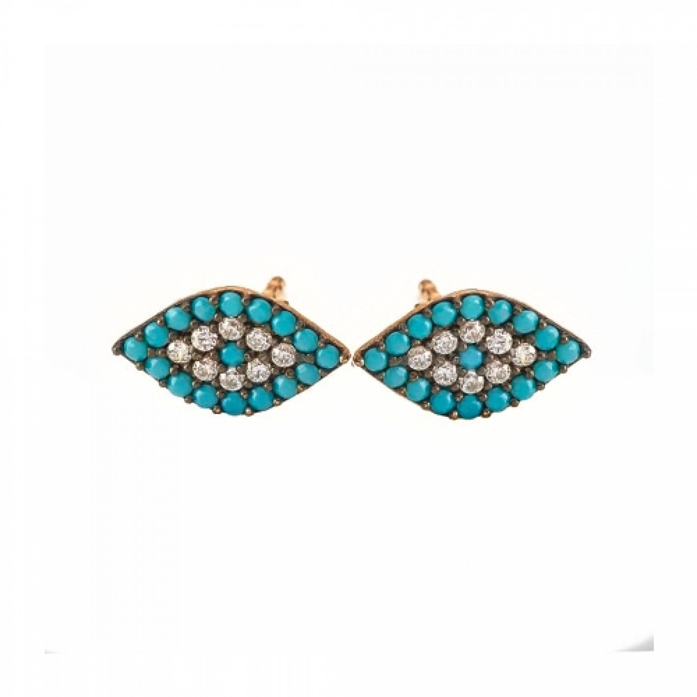 JE-210005 Evil Eye 925 Sterling Silver CZ Earrings