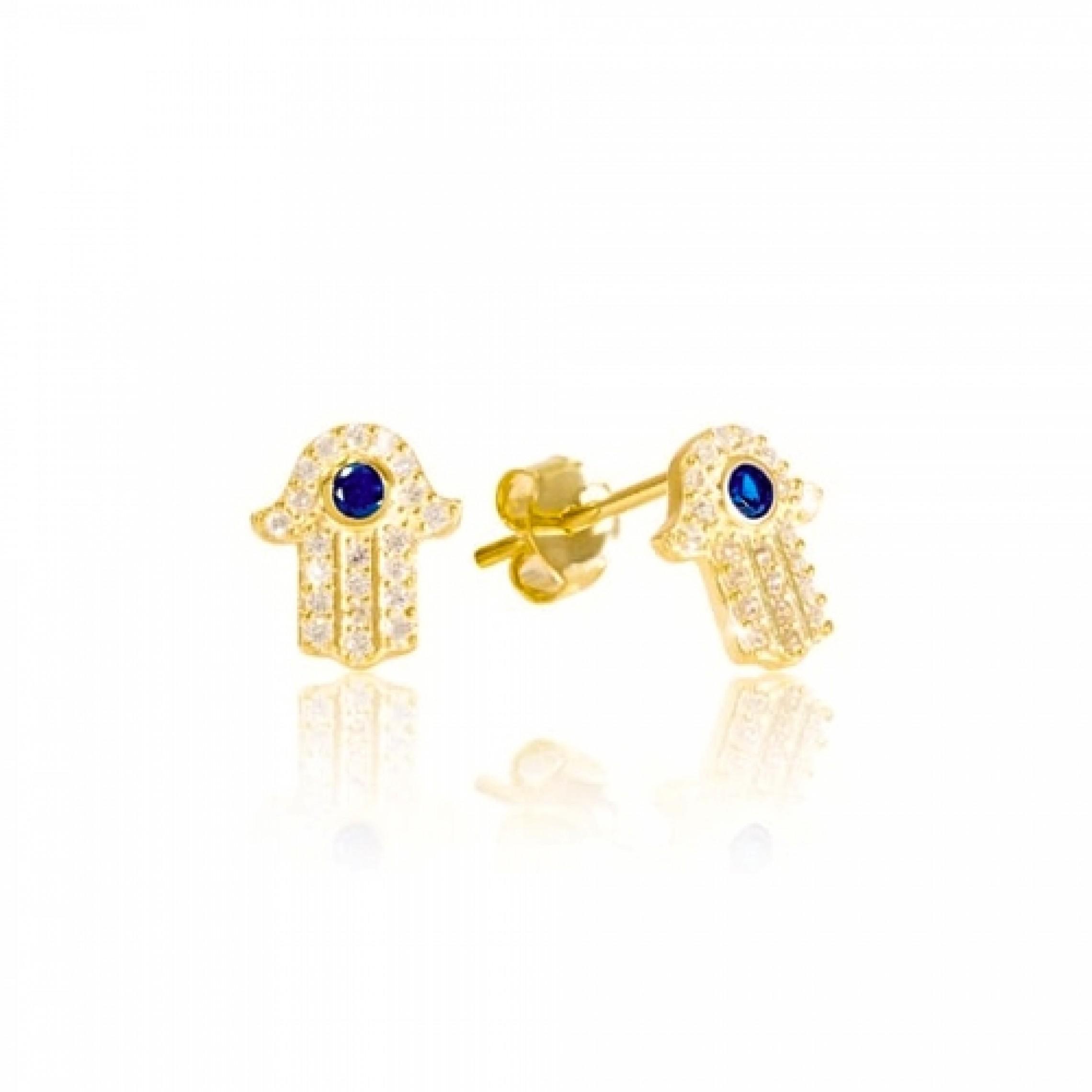 JE-210008 Evil Eye 925 Sterling Silver CZ Earrings