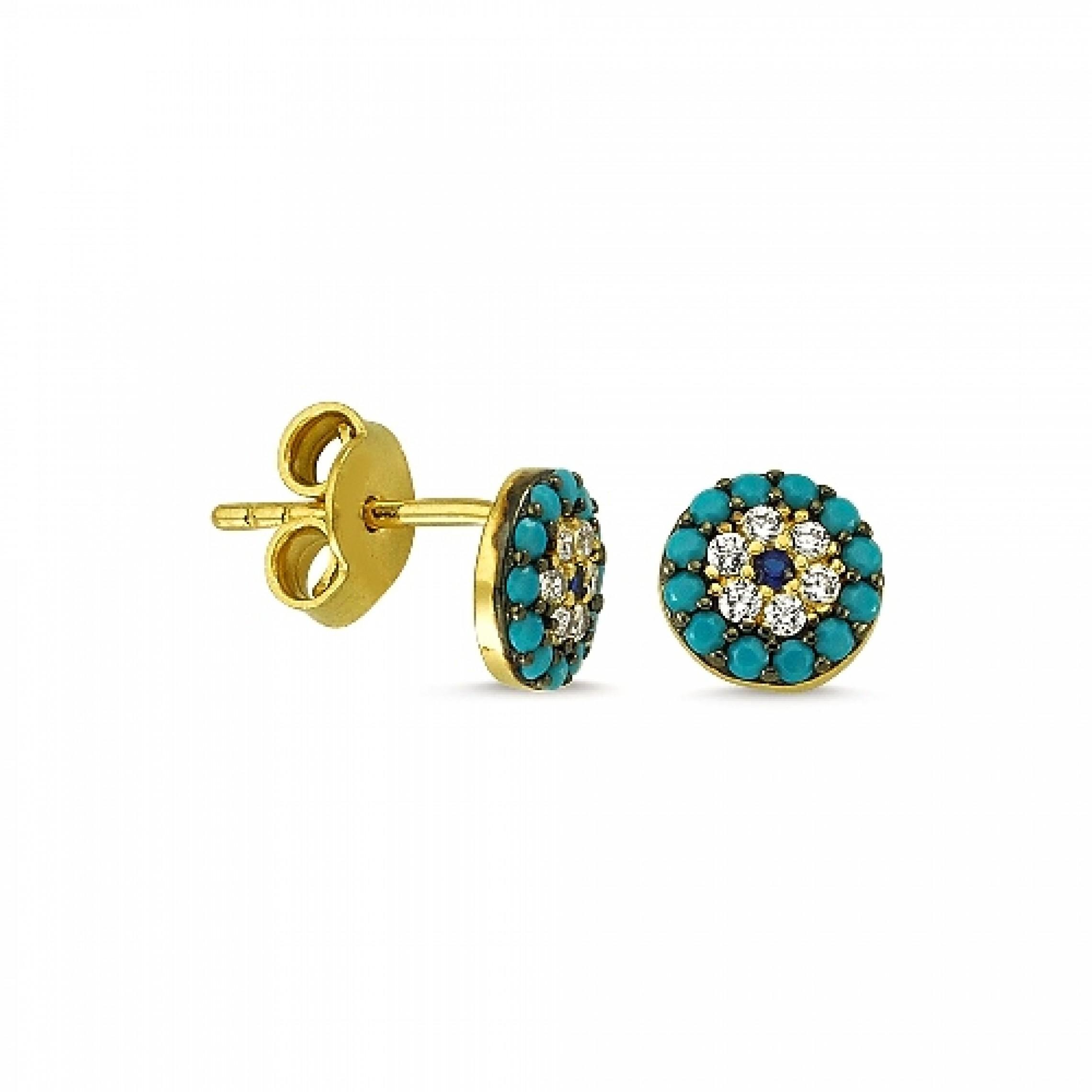 JE-210027 Evil Eye 925 Sterling Silver CZ Earrings