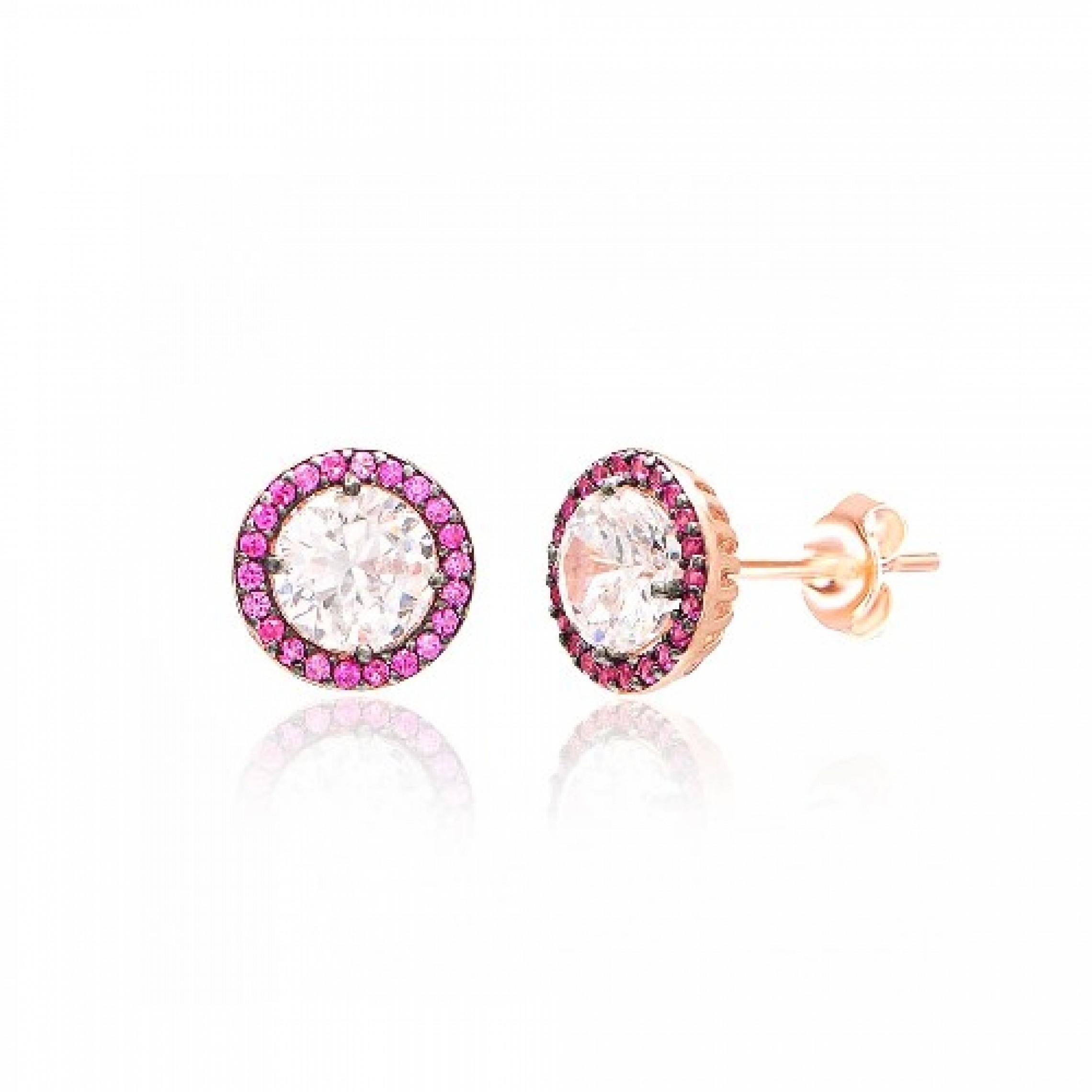 JE-210055 Evil Eye 925 Sterling Silver CZ Earrings