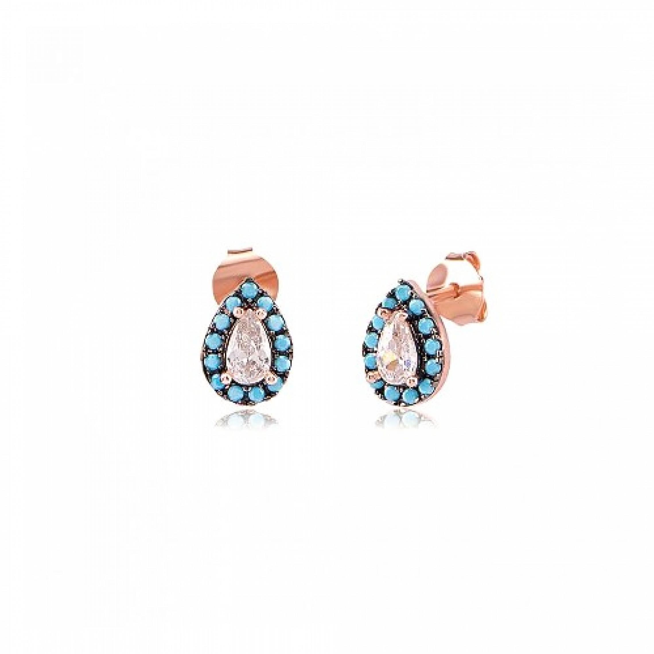 JE-210057 Evil Eye 925 Sterling Silver CZ Earrings