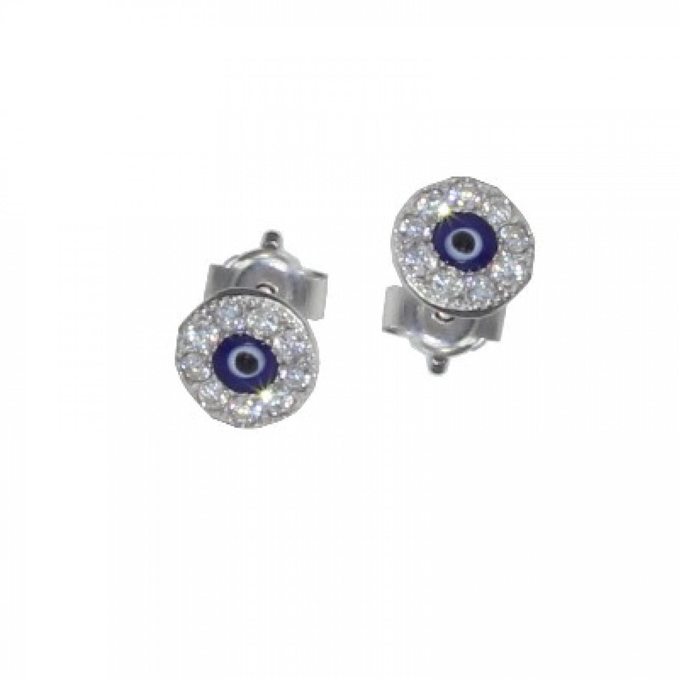 SE-81 Evil Eye 925 Sterling Silver CZ Earrings