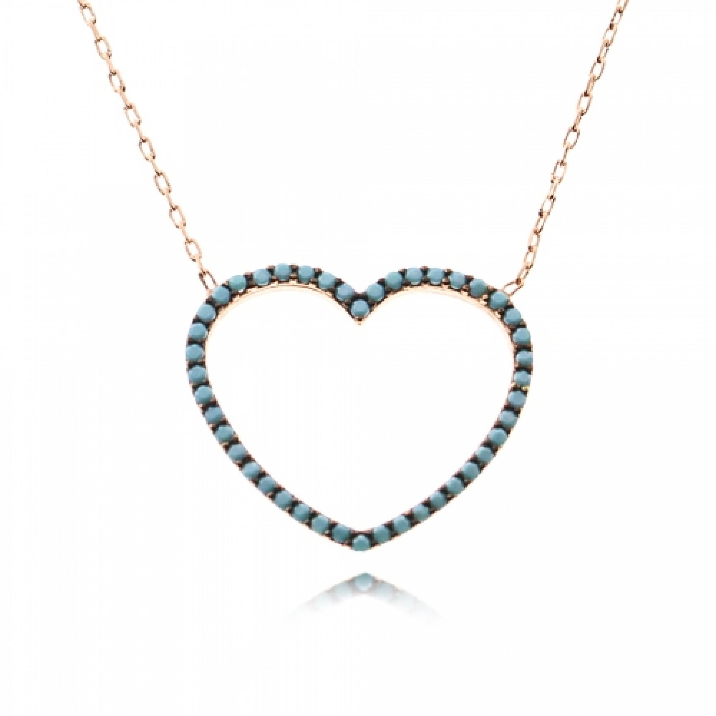 JN-190017 Evil Eye 925 Sterling Silver CZ Necklace Heart