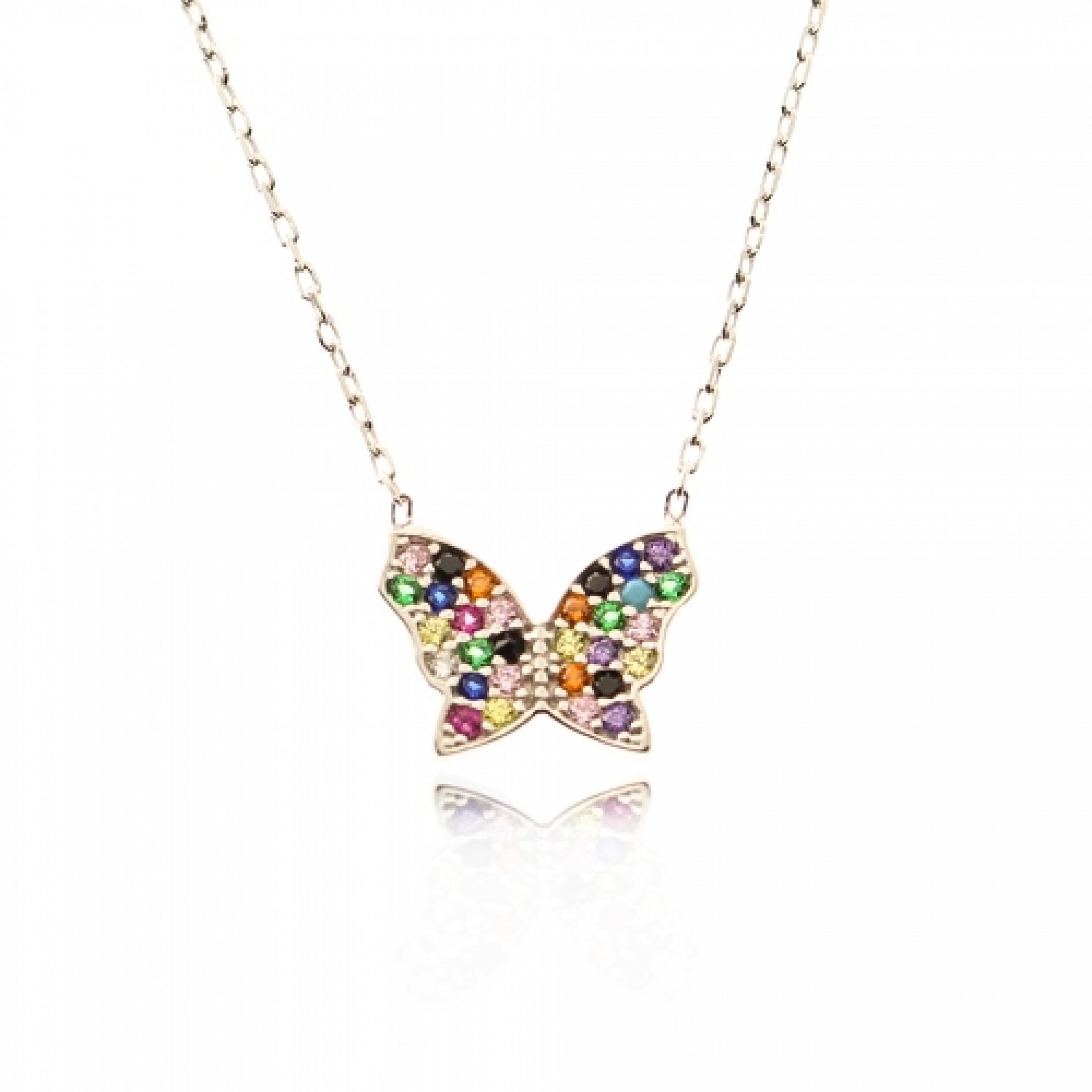 JN-190024 Evil Eye 925 Sterling Silver CZ Necklace Butterfly