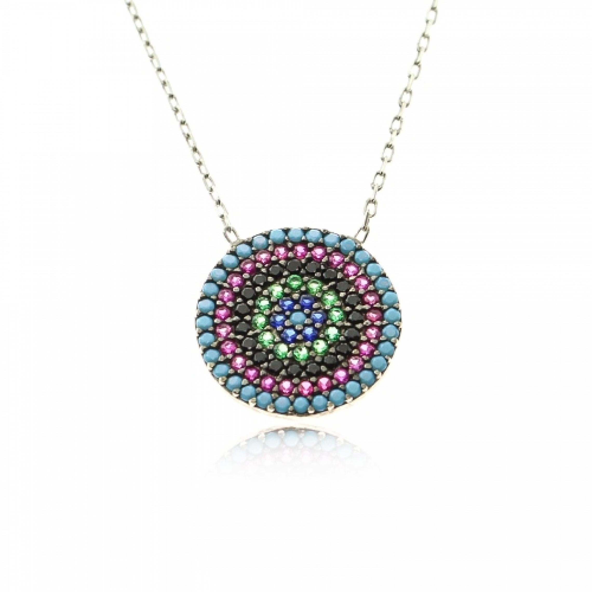 JN-190043 Evil Eye 925 Sterling Silver CZ Necklace Evil Eyes