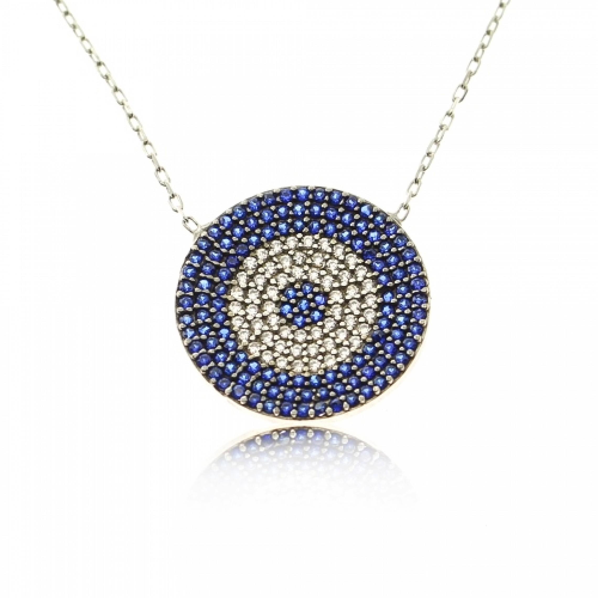 JN-190044 Evil Eye 925 Sterling Silver CZ Necklace Evil Eyes
