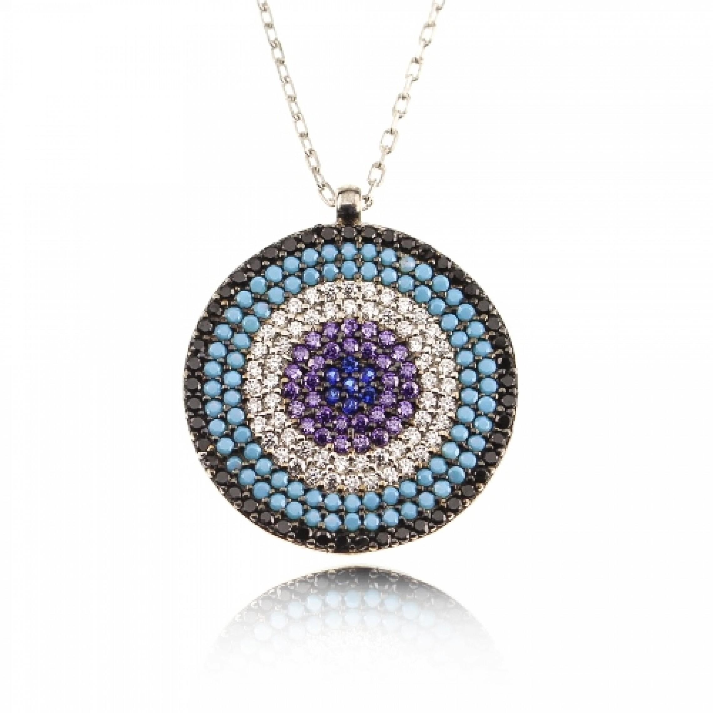 JN-190049 Evil Eye 925 Sterling Silver CZ Necklace Evil Eyes