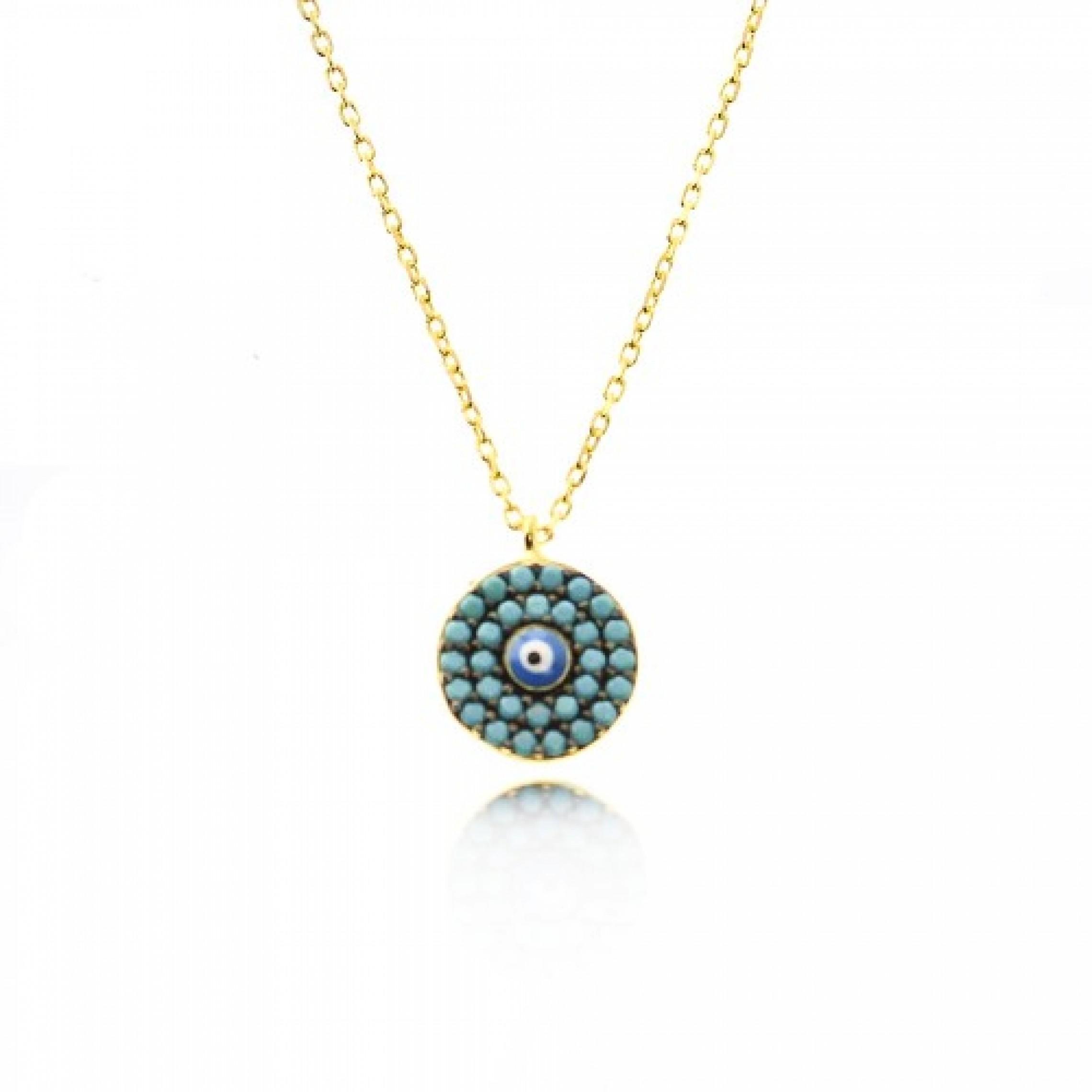 JN-190053 Evil Eye 925 Sterling Silver CZ Necklace Evil Eyes