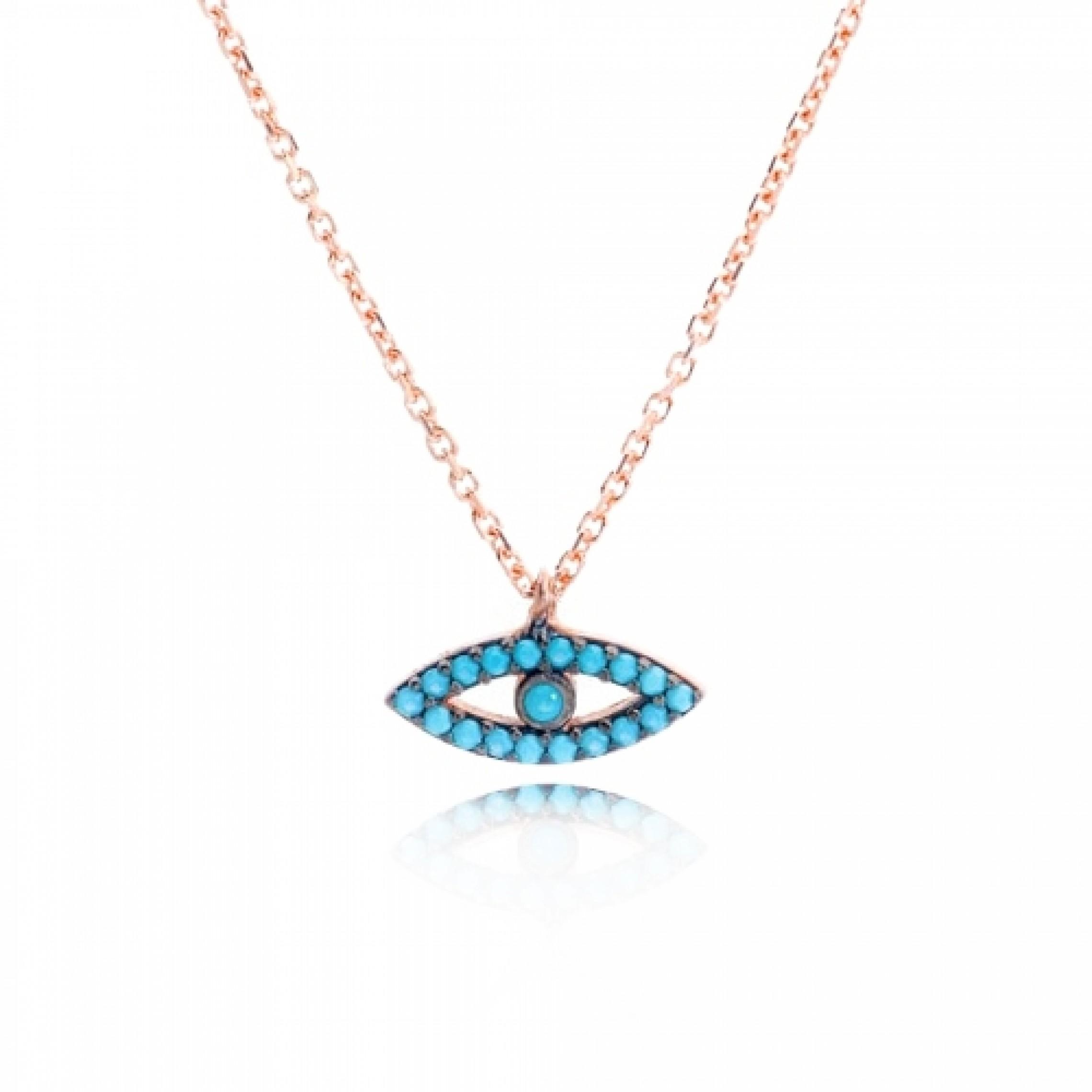 JN-190057 Evil Eye 925 Sterling Silver CZ Necklace Evil Eyes