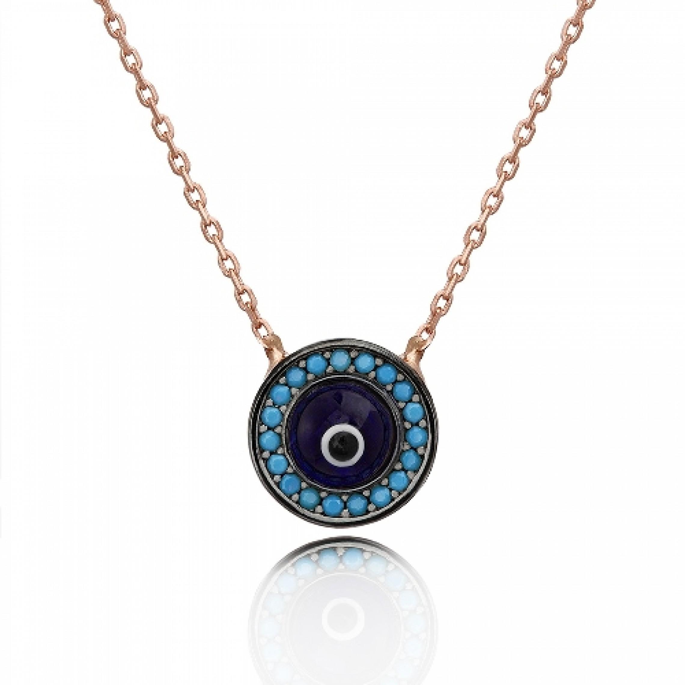JN-190058 Evil Eye 925 Sterling Silver CZ Necklace Evil Eyes
