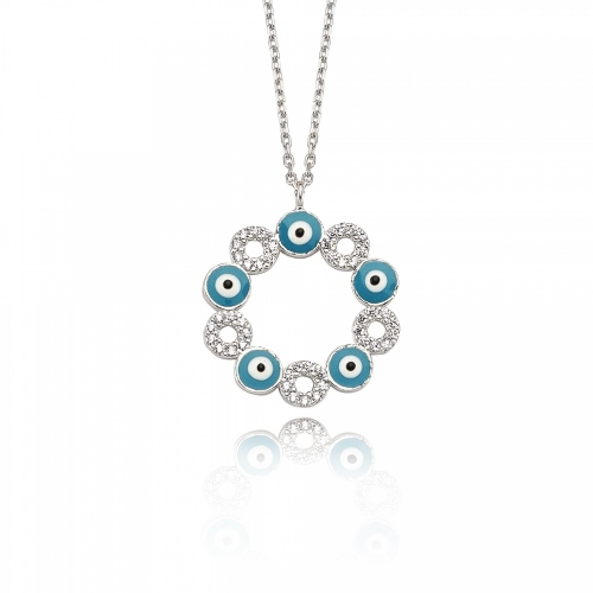 JN-190068 Evil Eye 925 Sterling Silver CZ Necklace Evil Eyes