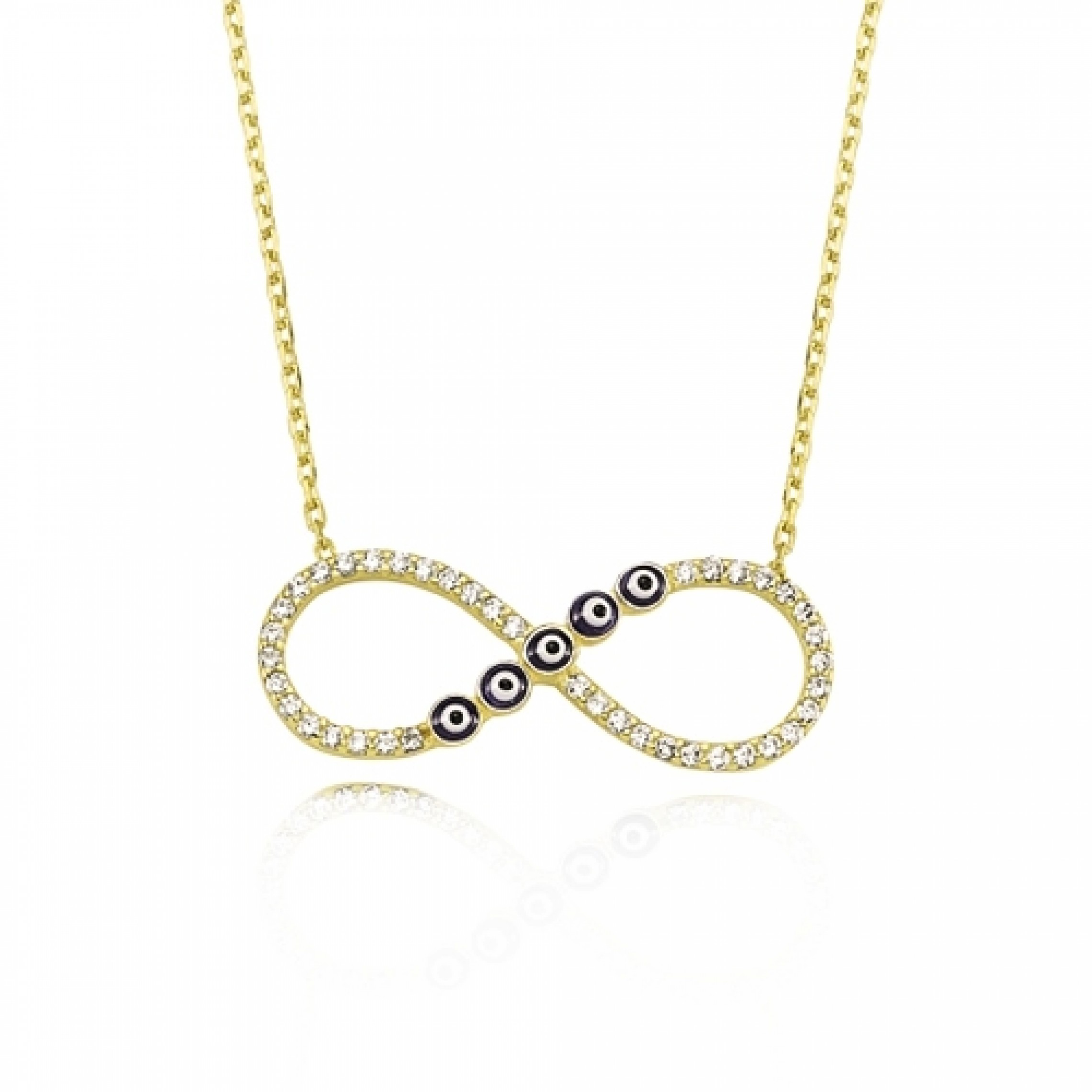 JN-190071 Evil Eye 925 Sterling Silver CZ Necklace Infinity Eyes