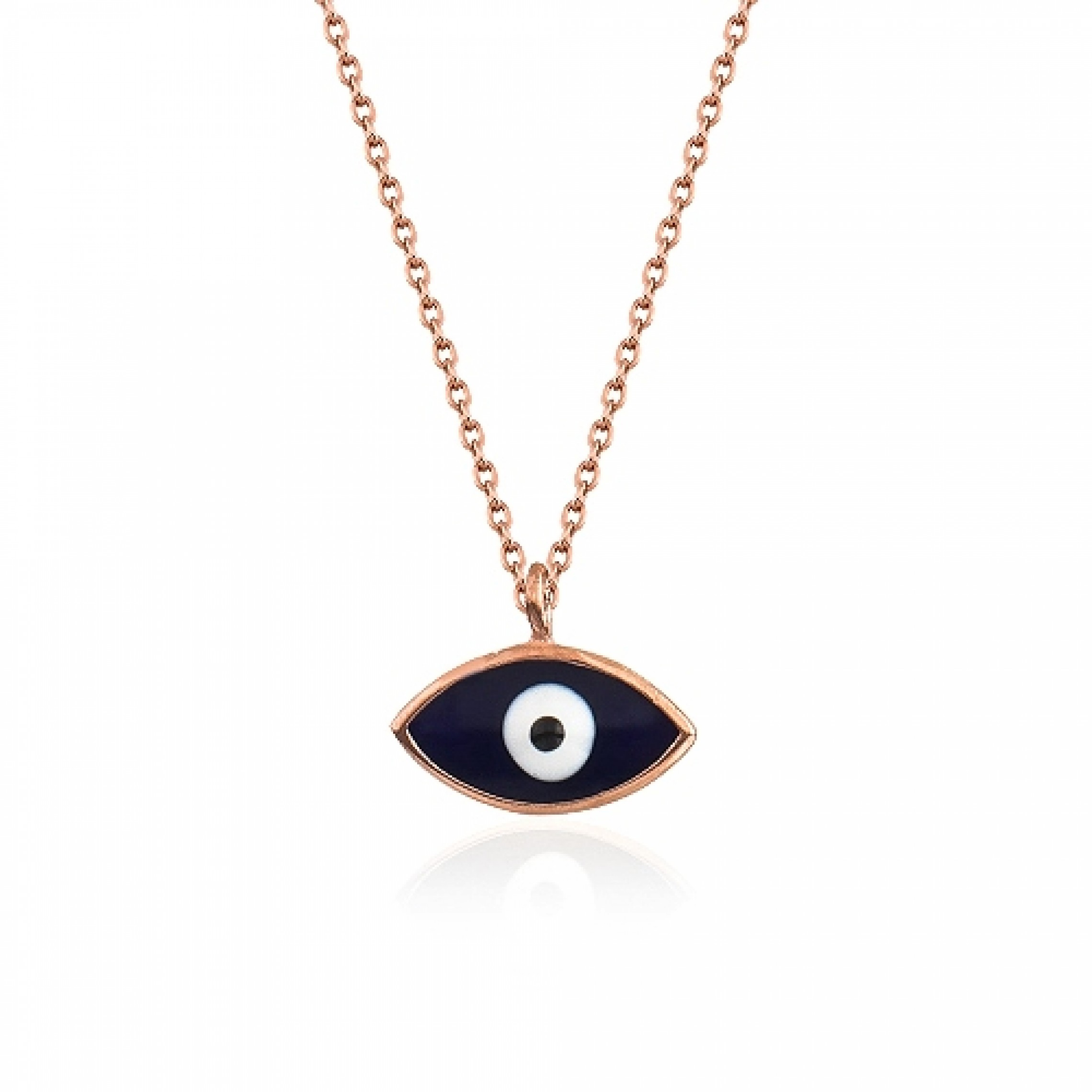 JN-190072 Evil Eye 925 Sterling Silver CZ Necklace Enamel Evil Eyes