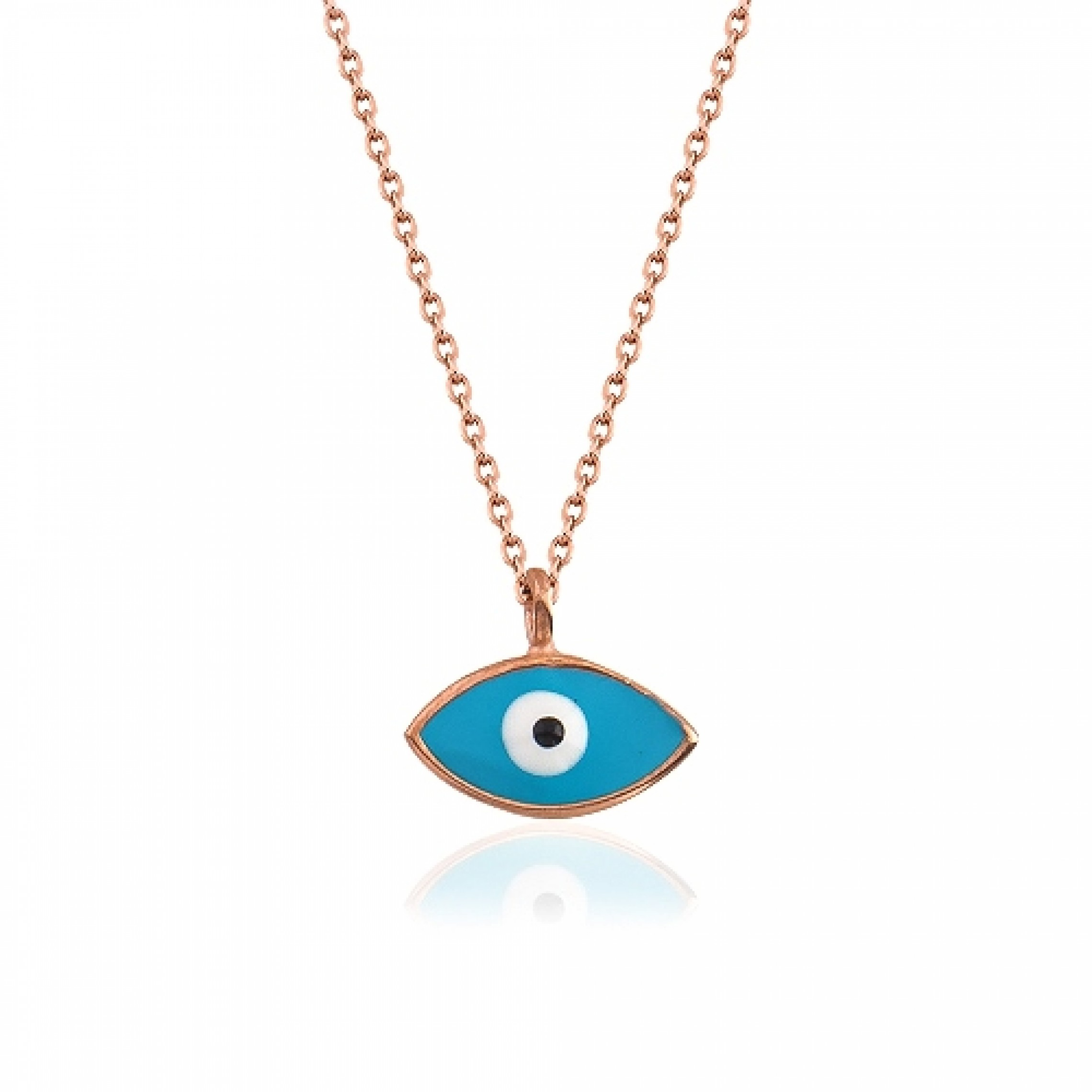 JN-190073 Evil Eye 925 Sterling Silver CZ Necklace Enamel Evil Eyes