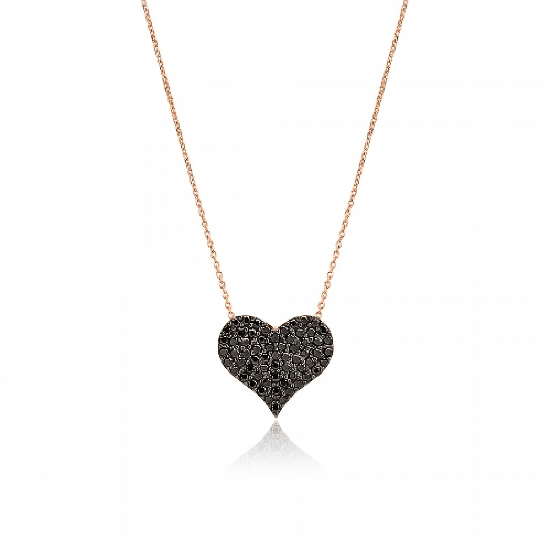 JN-190082 Evil Eye 925 Sterling Silver CZ Necklace Heart