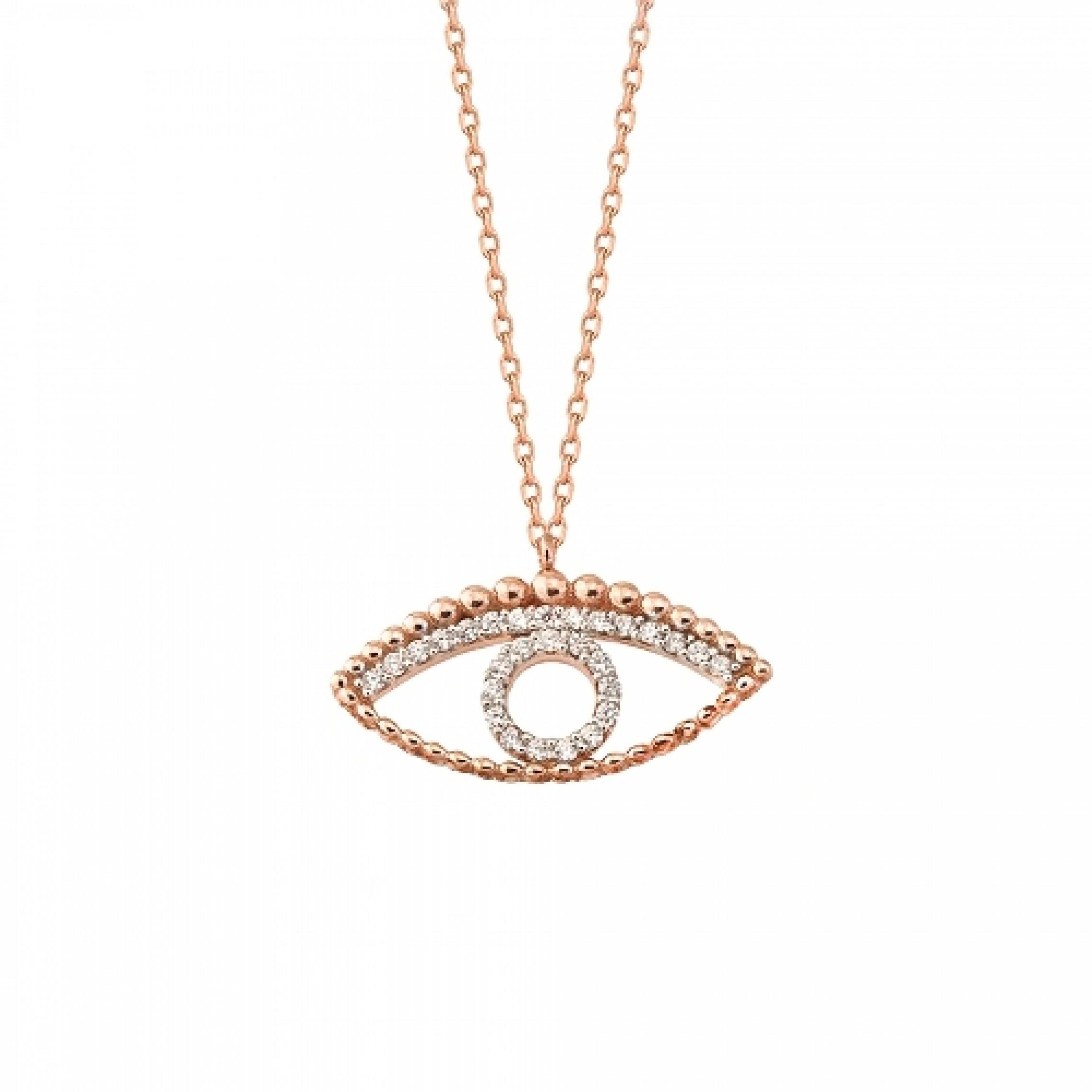 JN-190098 Evil Eye 925 Sterling Silver CZ Necklace Evil Eyes