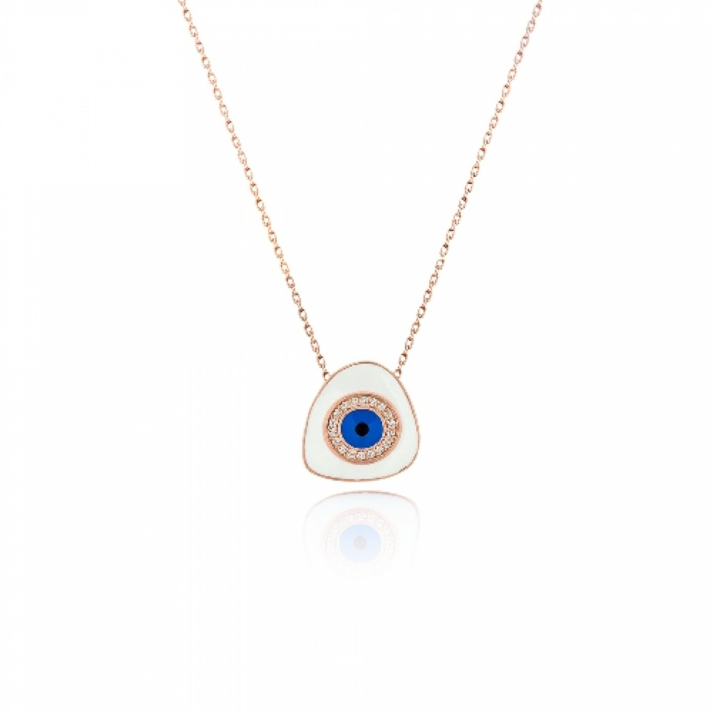 JN-190099 Evil Eye 925 Sterling Silver CZ Necklace Evil Eyes