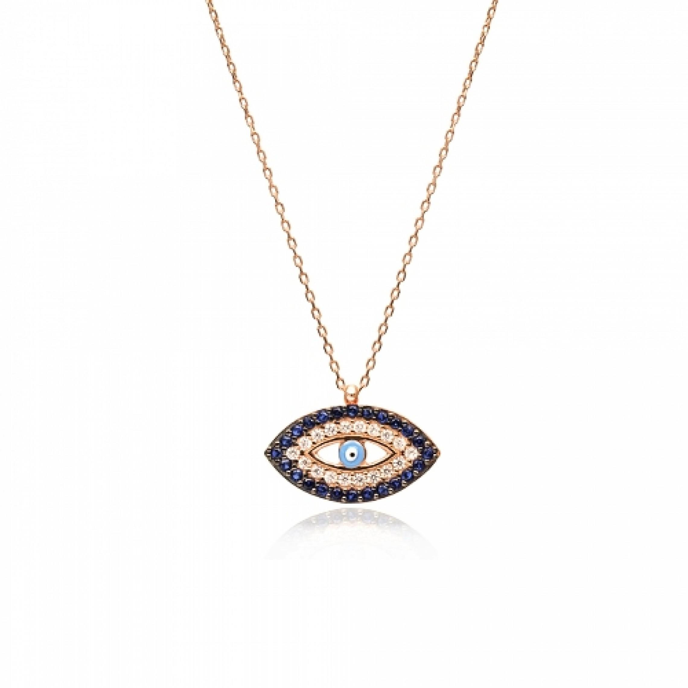 JN-190101 Evil Eye 925 Sterling Silver CZ Necklace Evil Eyes