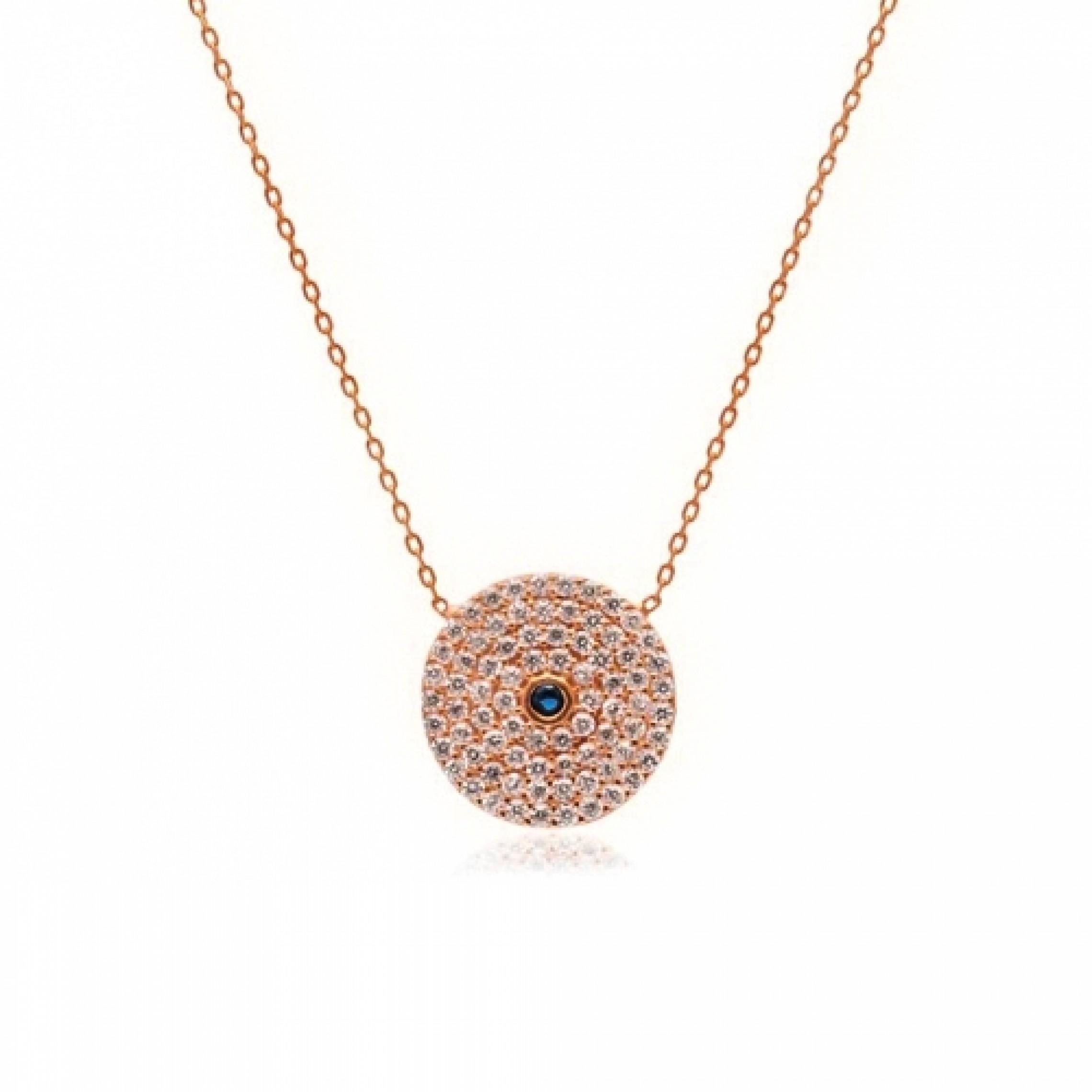JN-190107 Evil Eye 925 Sterling Silver CZ Necklace