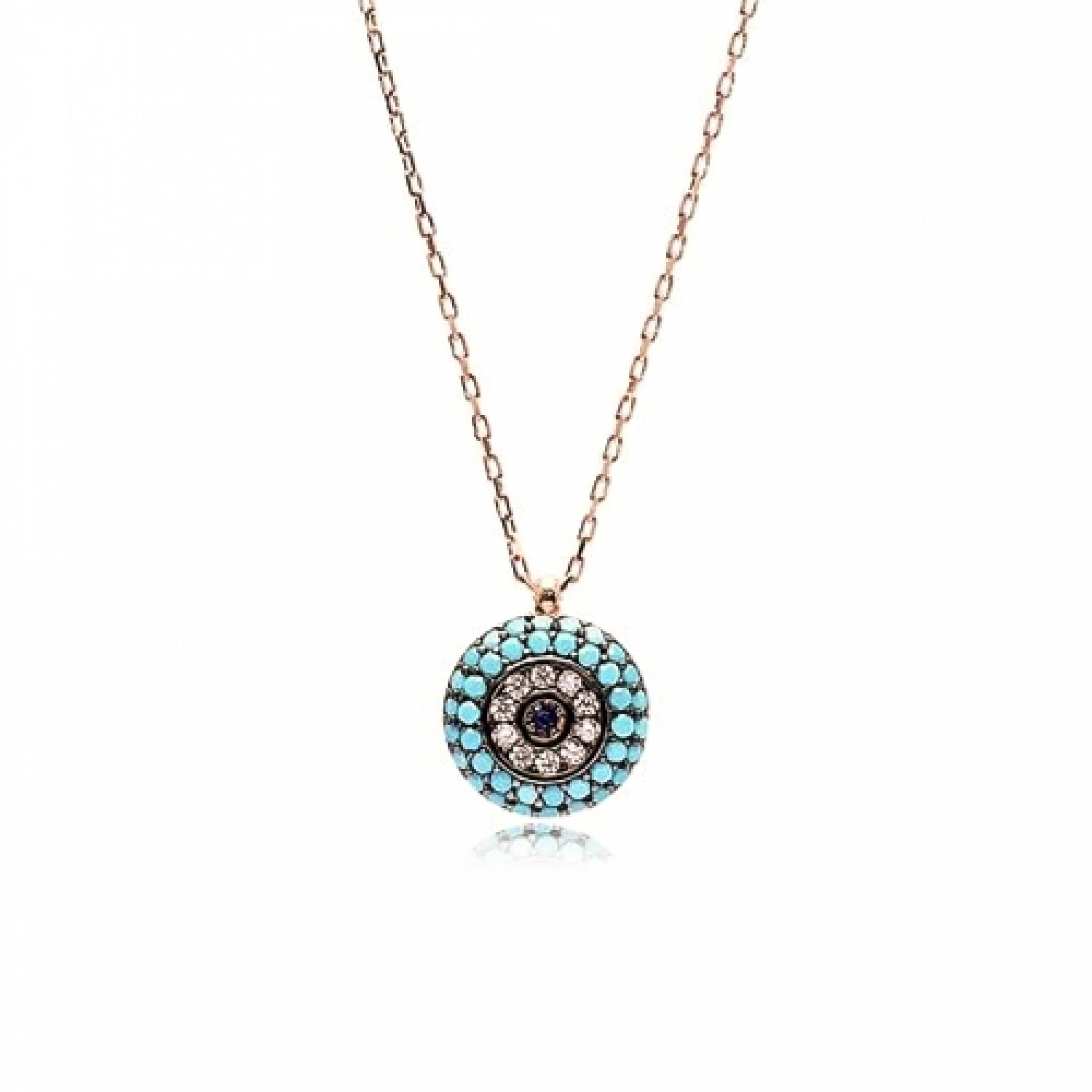 JN-190109 Evil Eye 925 Sterling Silver CZ Necklace Evil Eyes