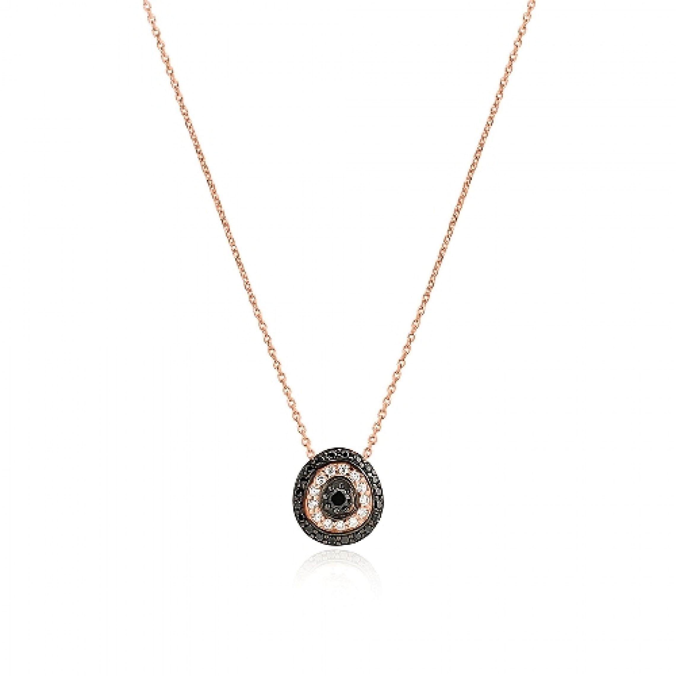 JN-190118 Evil Eye 925 Sterling Silver CZ Necklace Evil Eyes