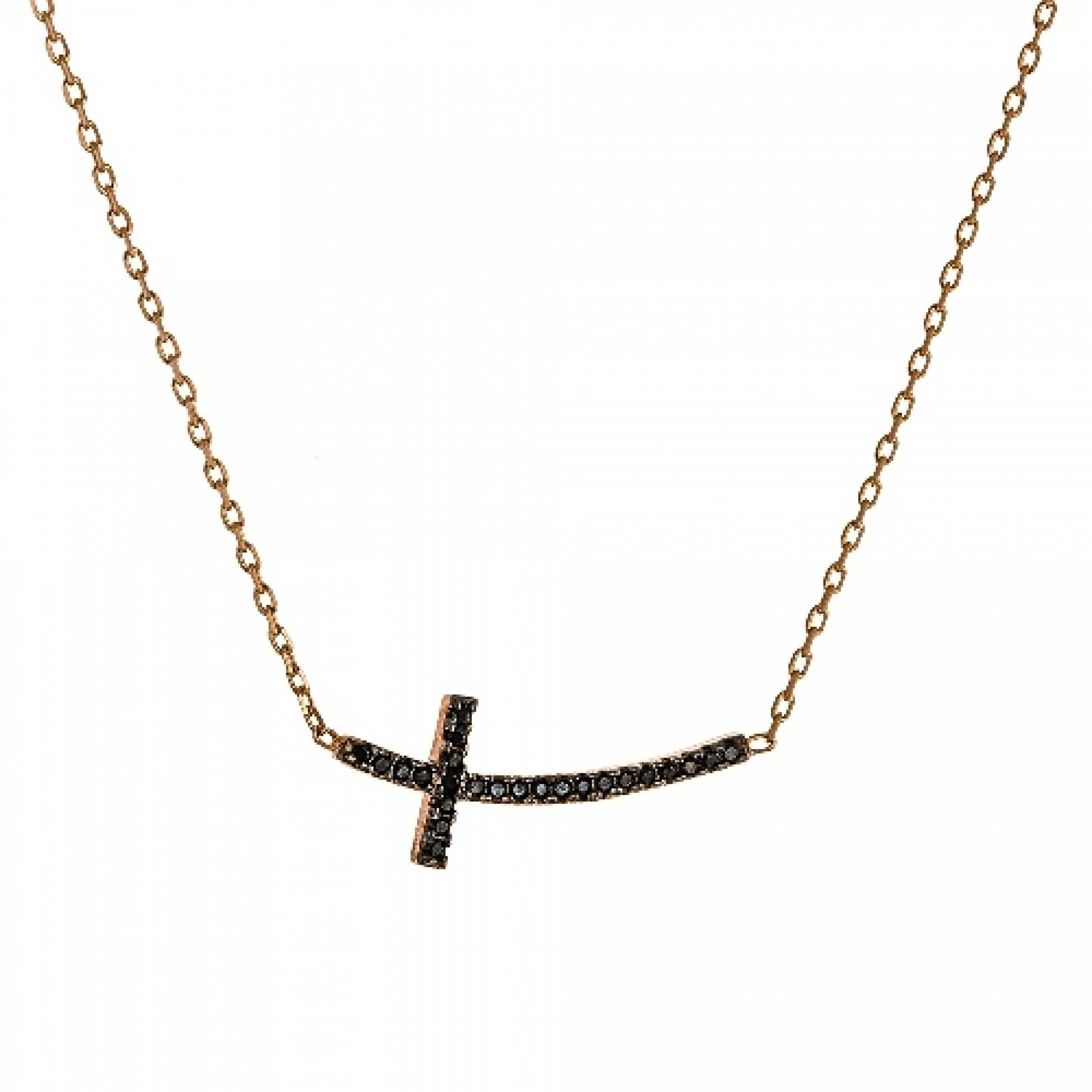JN-190130 Evil Eye 925 Sterling Silver CZ Necklace Cross