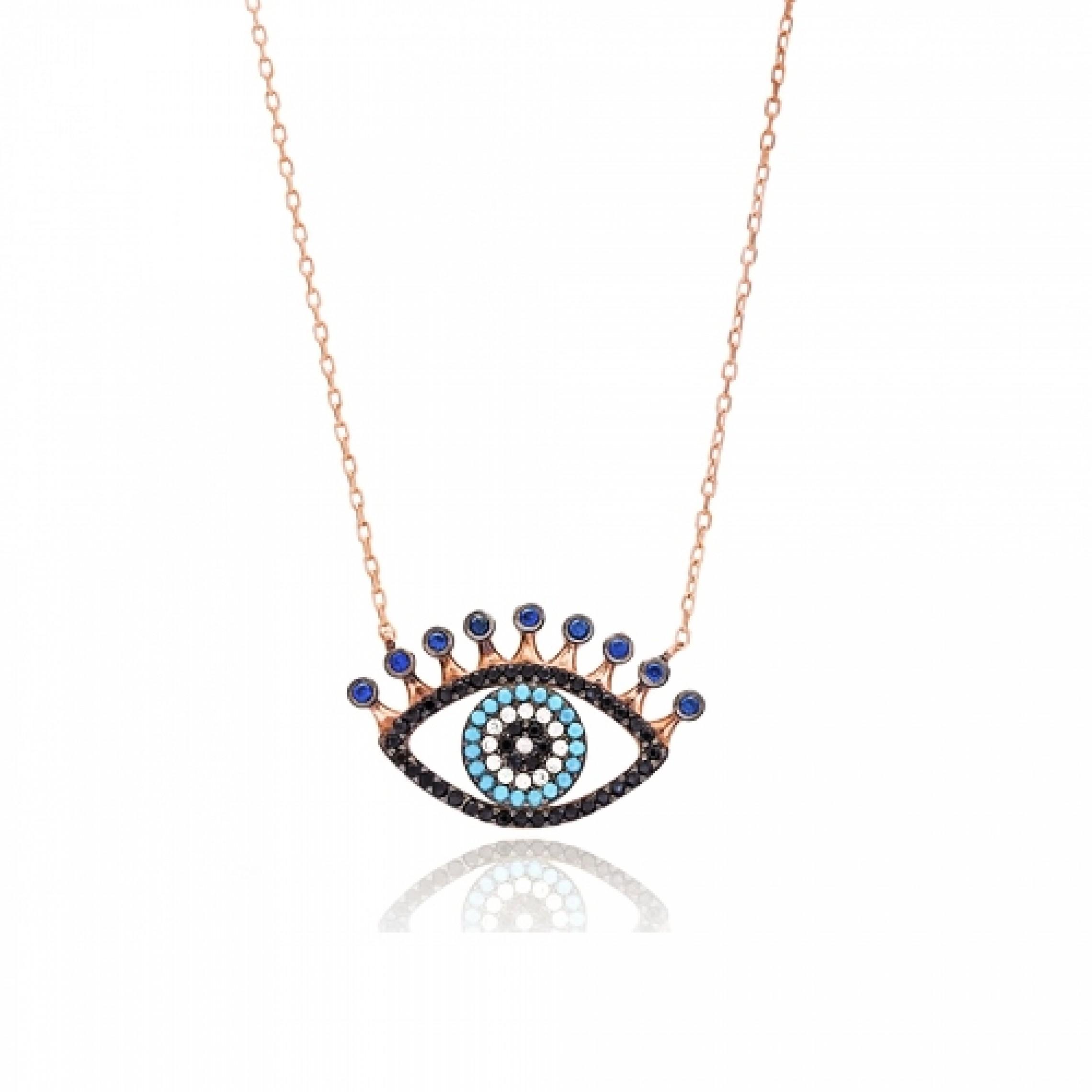 JN-190131 Evil Eye 925 Sterling Silver CZ Necklace Evil Eyes