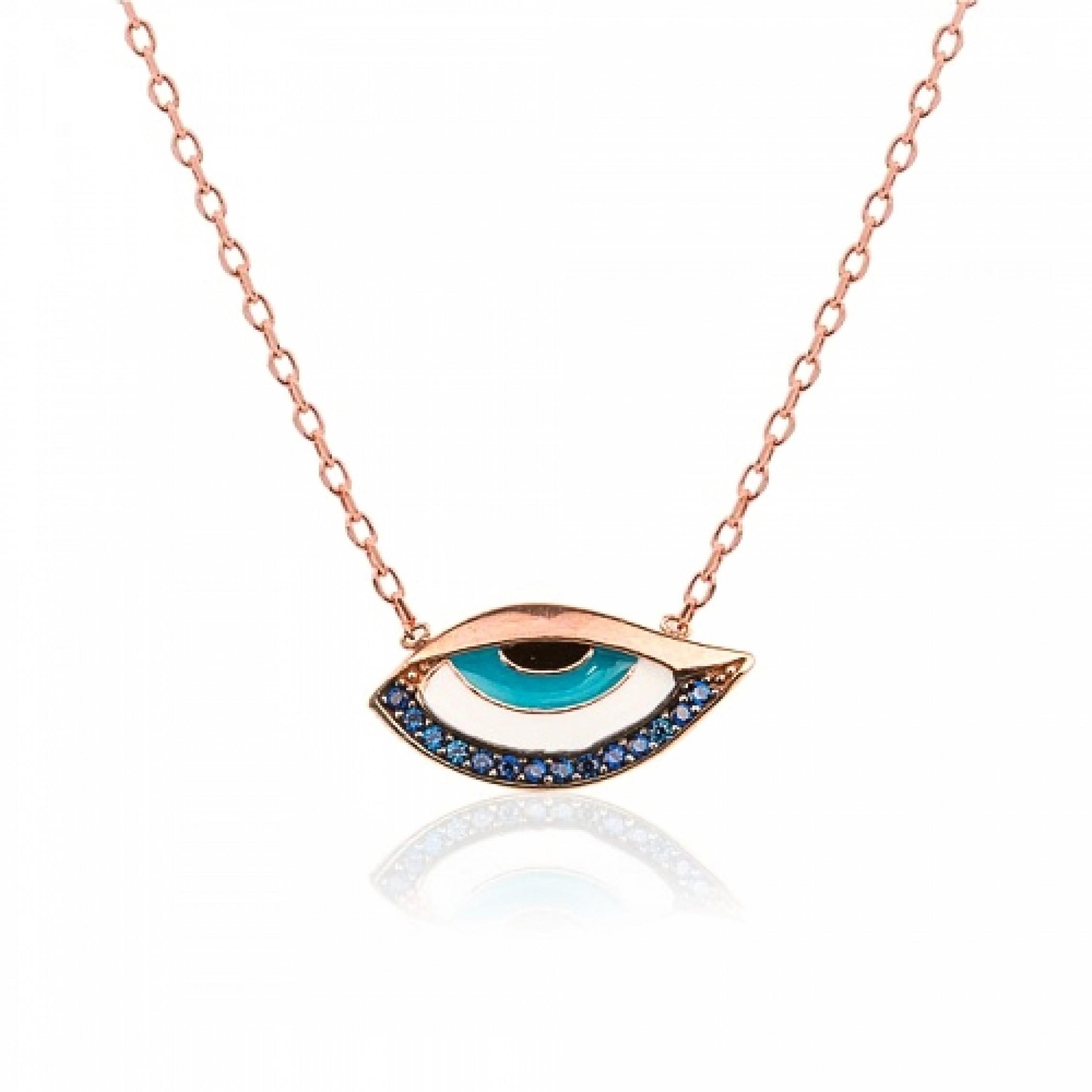 JN-190132 Evil Eye 925 Sterling Silver CZ Necklace Evil Eyes