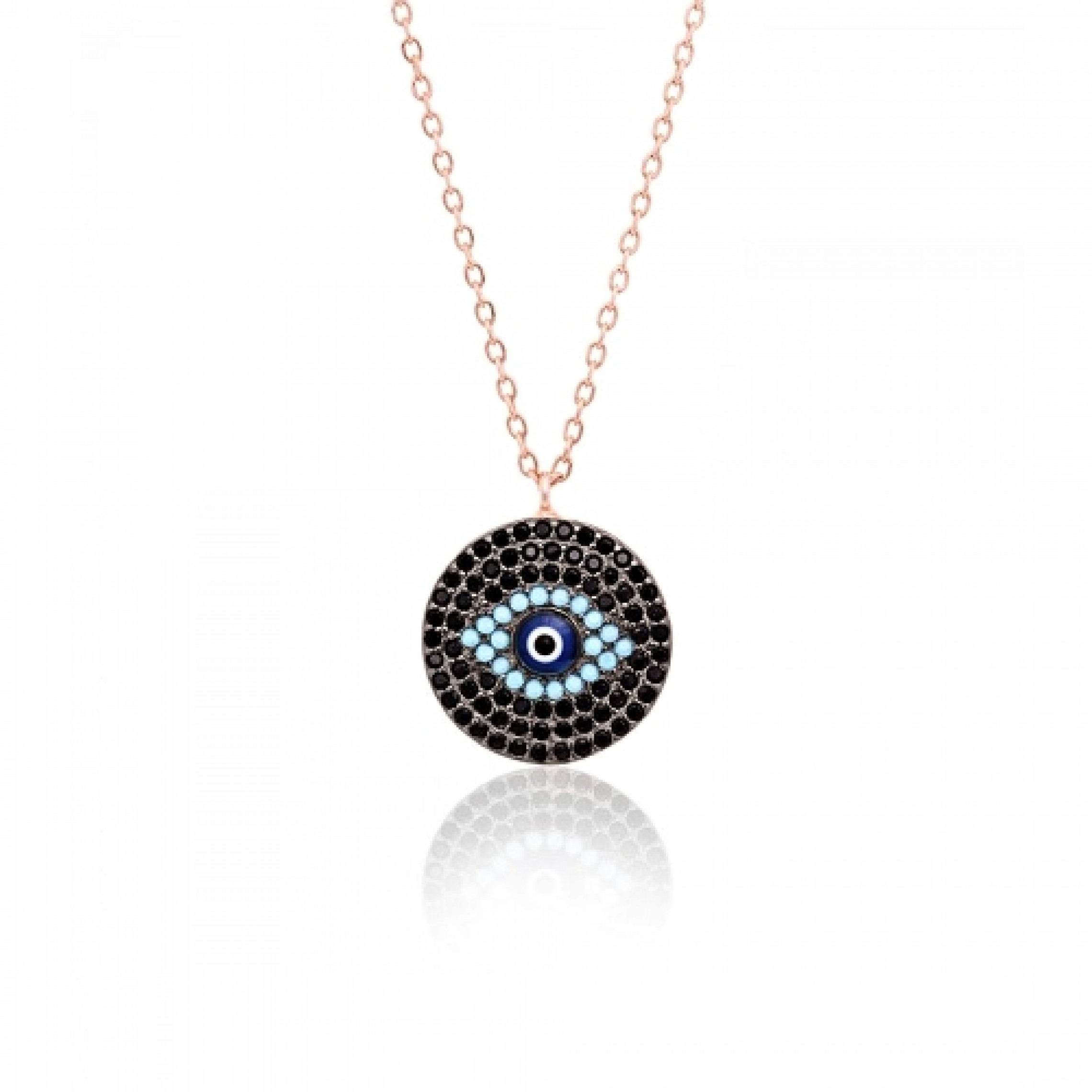 JN-190133 Evil Eye 925 Sterling Silver CZ Necklace Evil Eyes