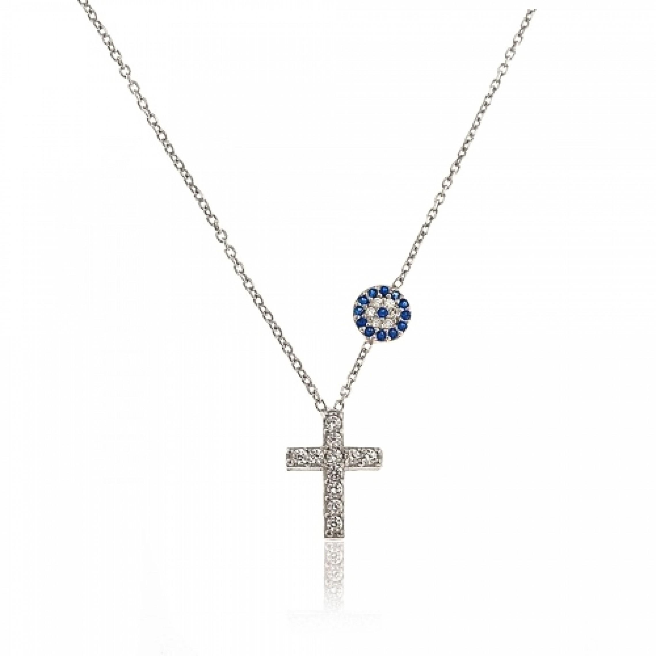JN-190141 Evil Eye 925 Sterling Silver CZ Necklace Cross Eyes