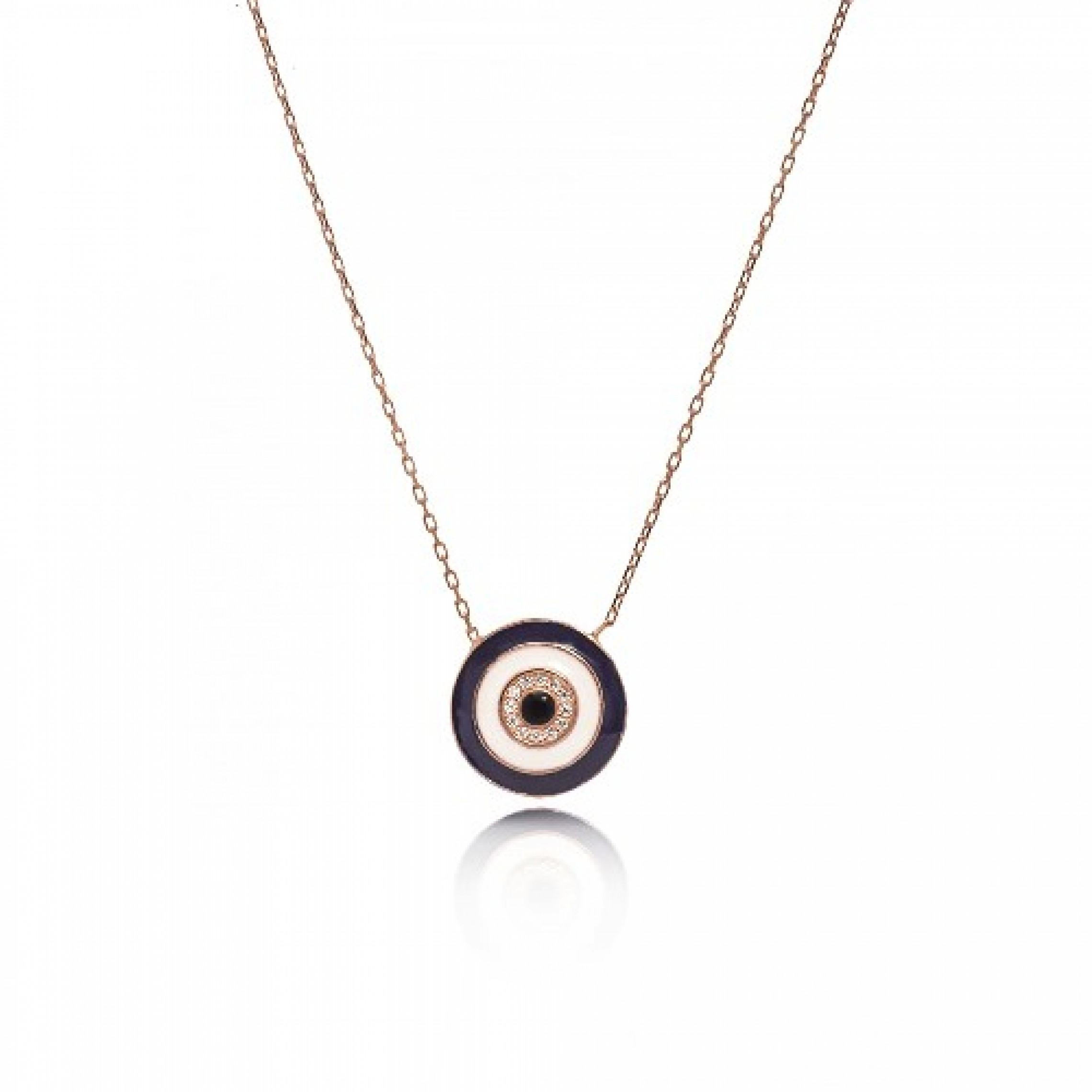 JN-190145 Evil Eye 925 Sterling Silver CZ Necklace Evil Eyes
