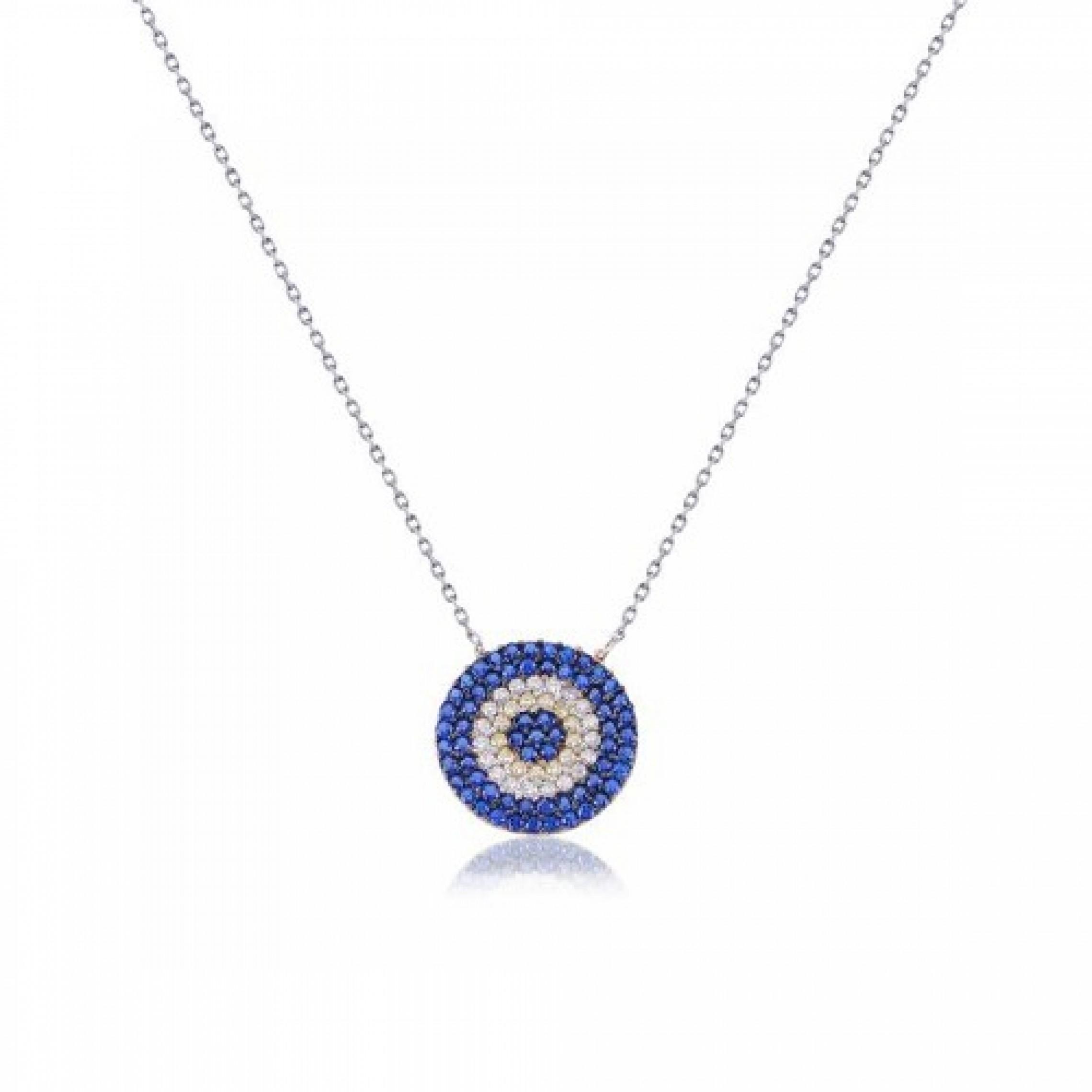 JN-190152 Evil Eye 925 Sterling Silver CZ Necklace Evil Eyes