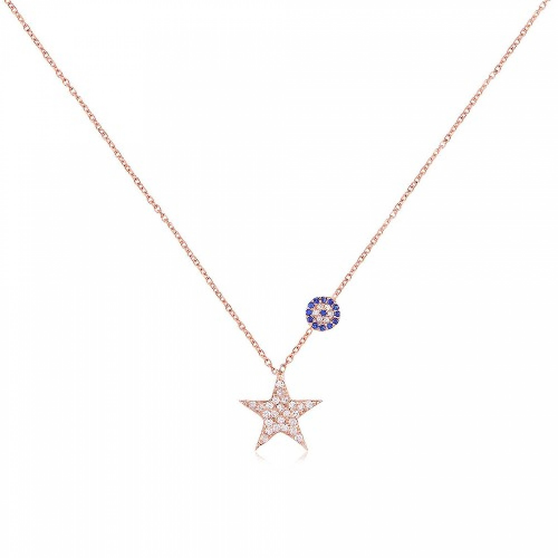 JN-190157 Evil Eye 925 Sterling Silver CZ Necklace Star