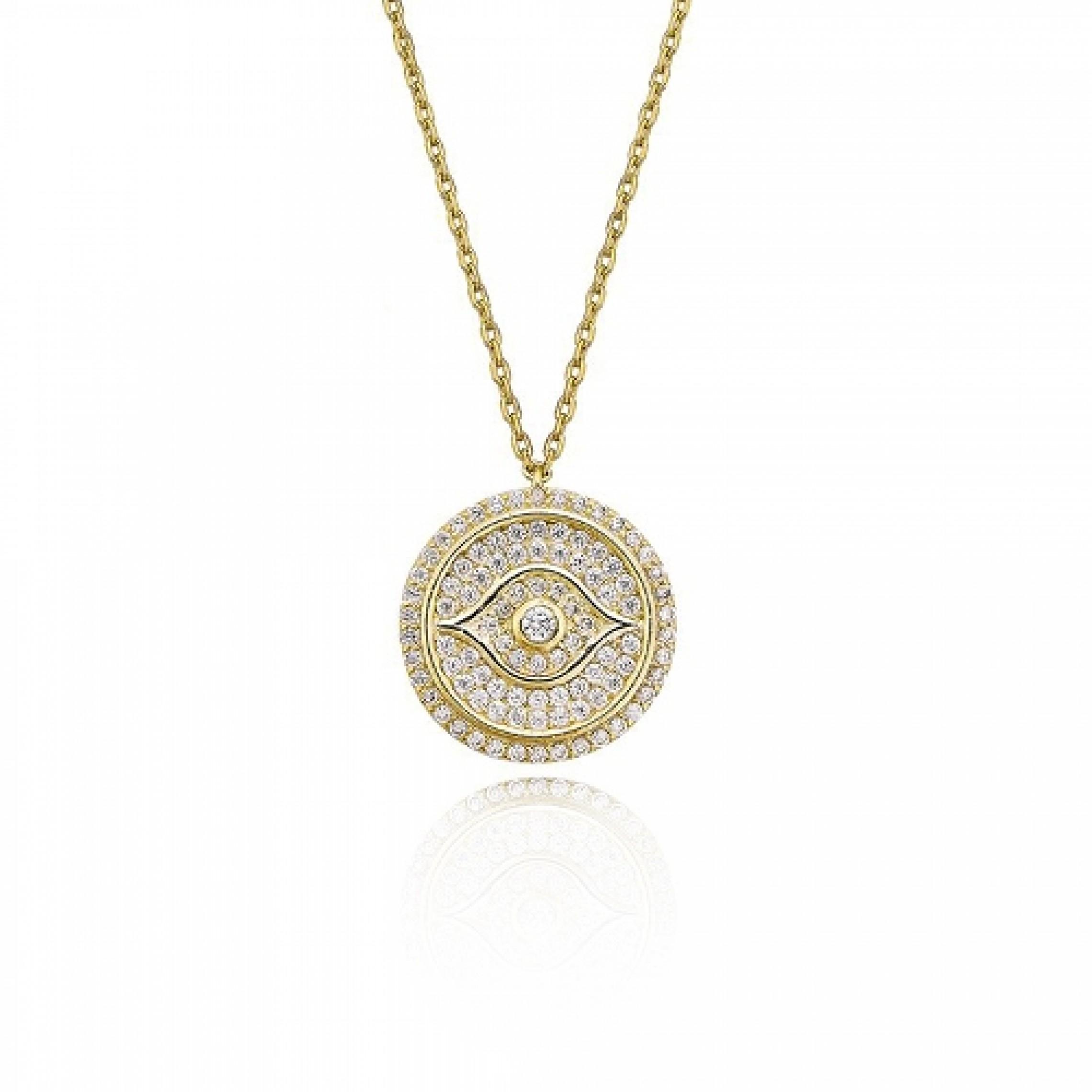 JN-190170 Evil Eye 925 Sterling Silver CZ Necklace