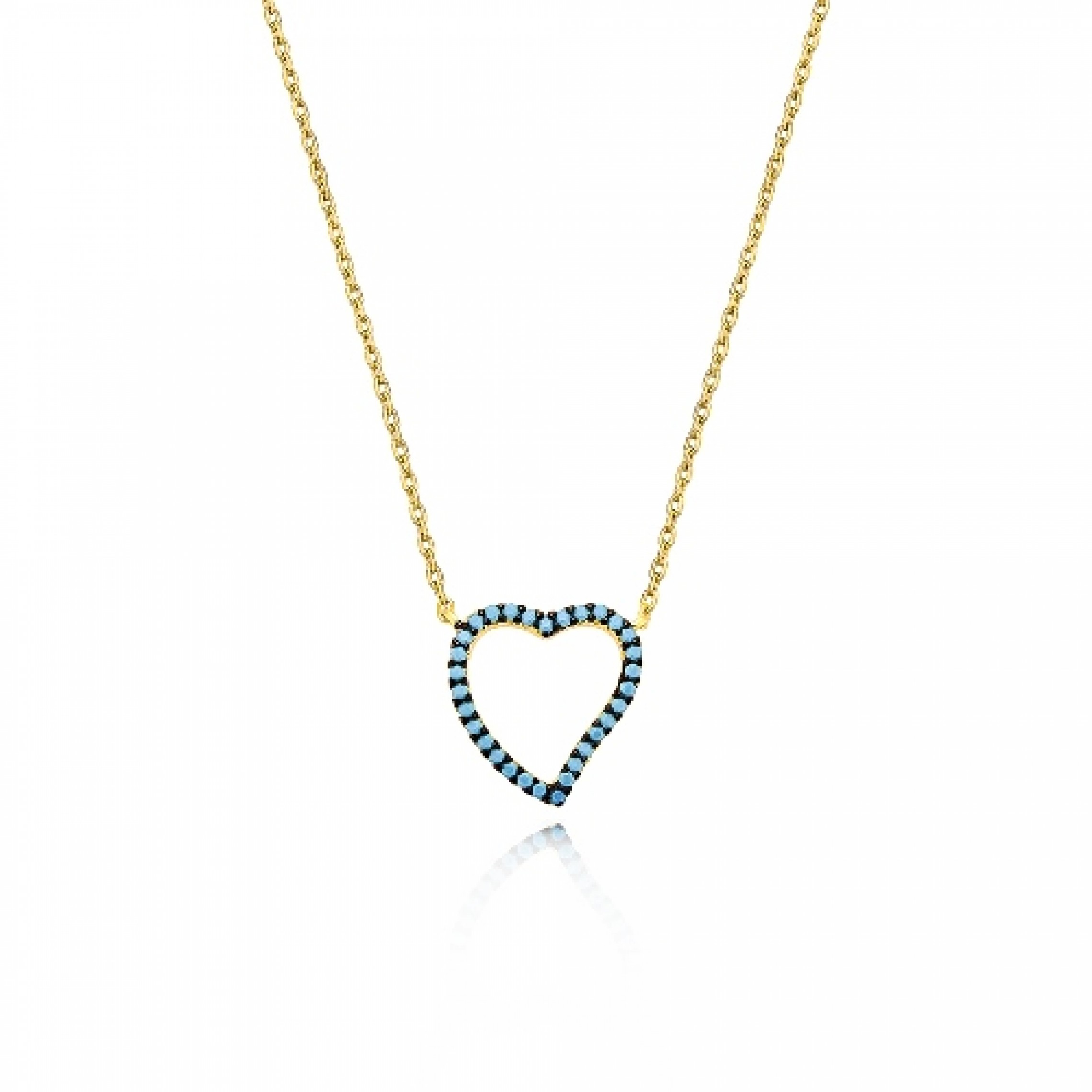 JN-190172 Evil Eye 925 Sterling Silver CZ Necklace Heart