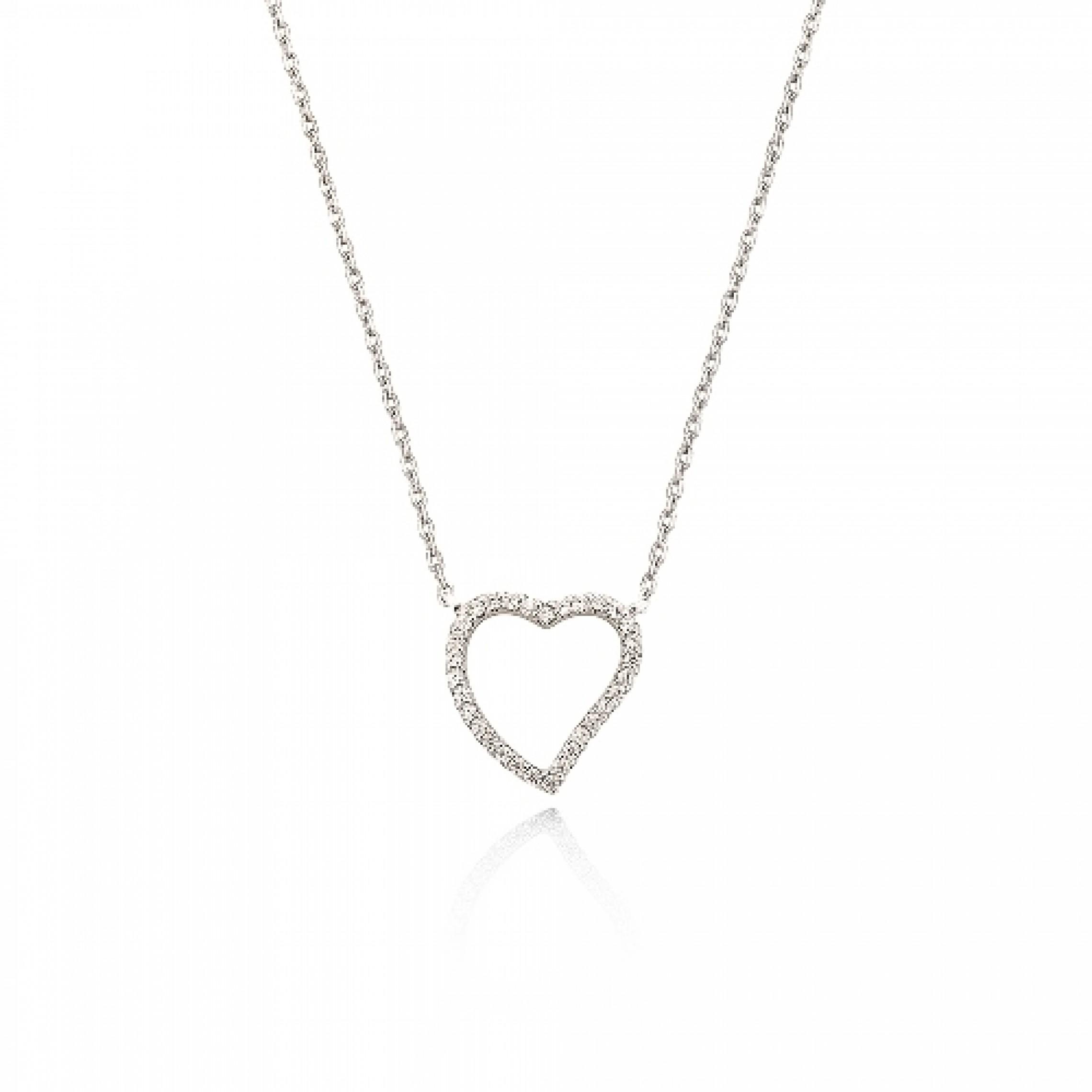JN-190173 Evil Eye 925 Sterling Silver CZ Necklace Heart