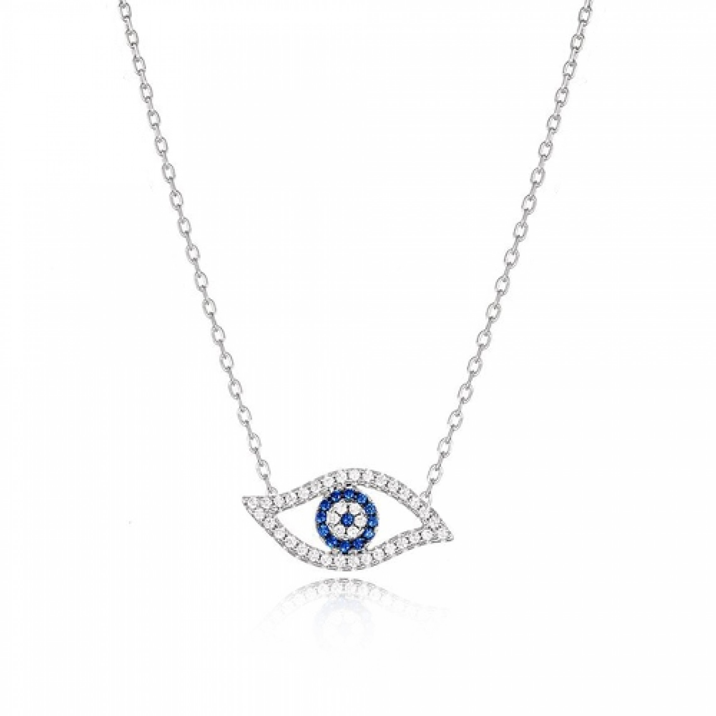 JN-190180 Evil Eye 925 Sterling Silver CZ Necklace Evil Eyes