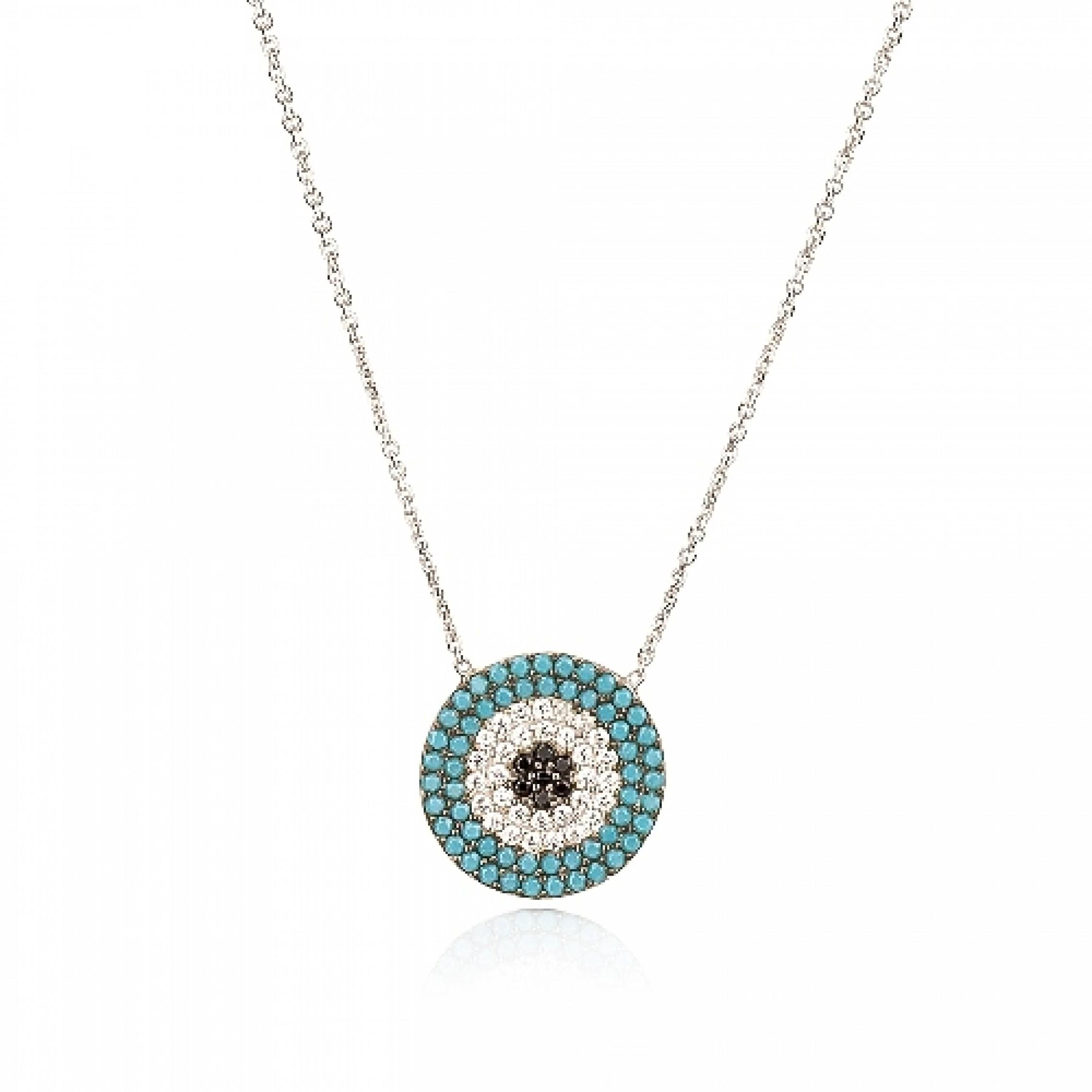 JN-190193 Evil Eye 925 Sterling Silver CZ Necklace Evil Eyes