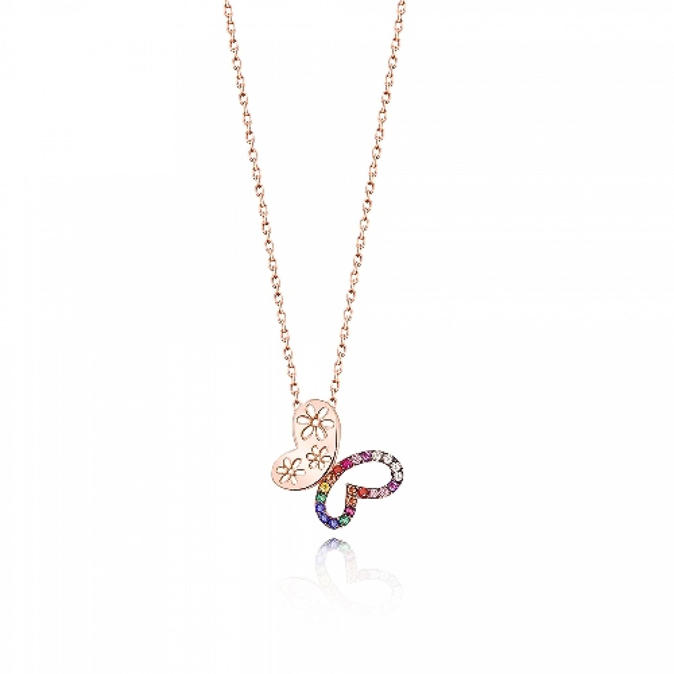 JN-190205 Evil Eye 925 Sterling Silver CZ Necklace Butterfly